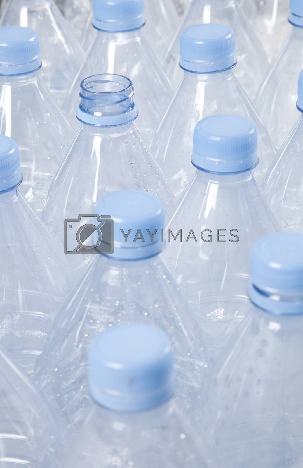 Close-up view of empty plastic bottles