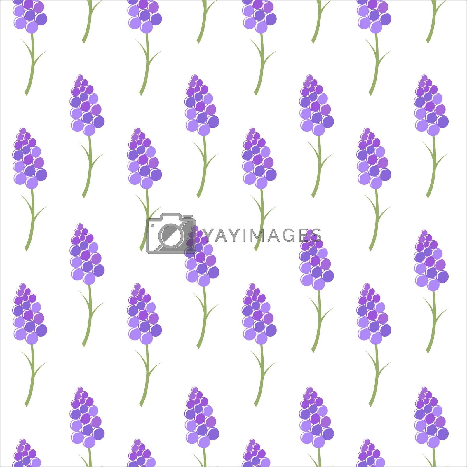 Seamless background of stylized lavender flowers