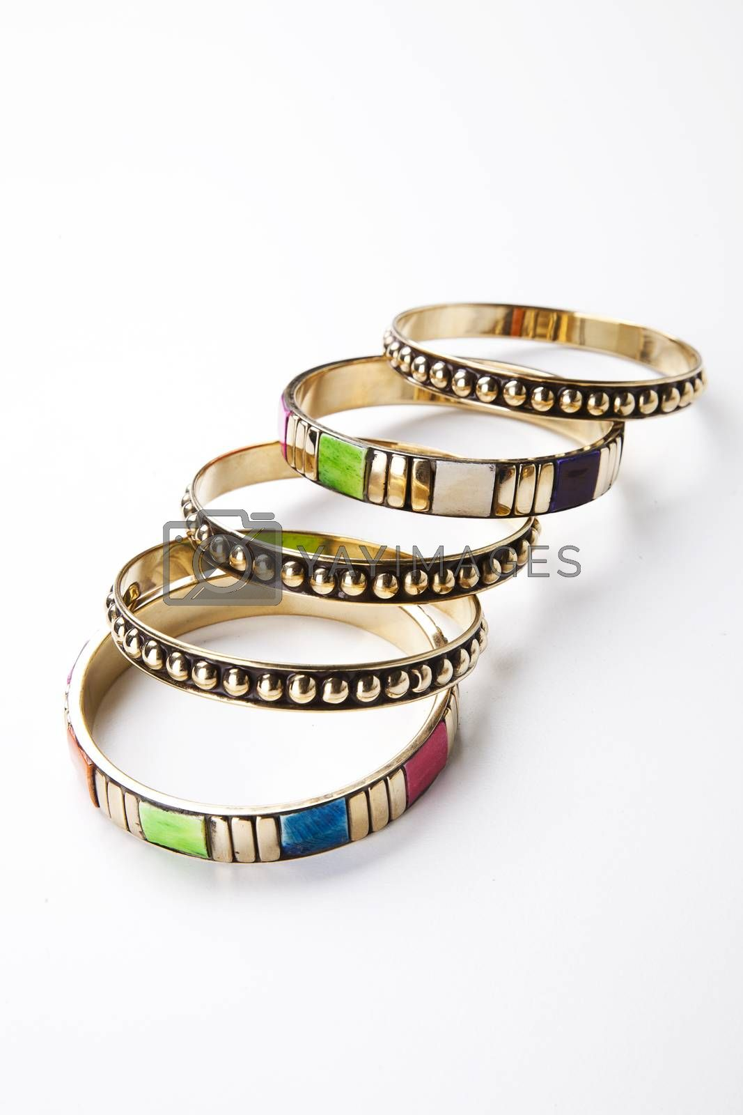 Traditional bangles over white background