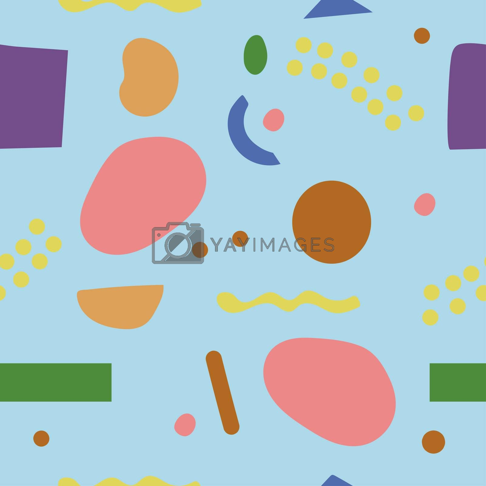 Seamles Abstract Stones Pattern on White Background, Nature Hand Drawn Shapes, Modern Pattern.
