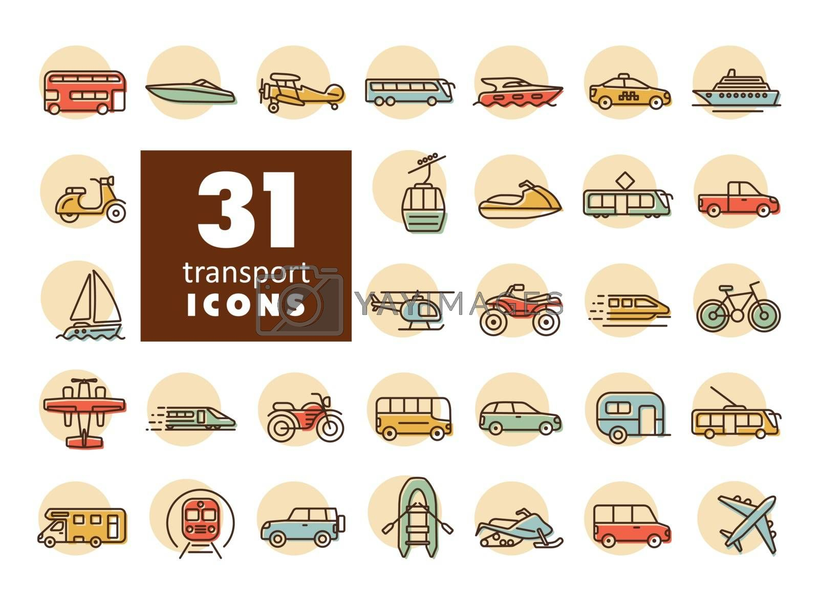 Royalty free image of Transportation vector flat icon set by nosik