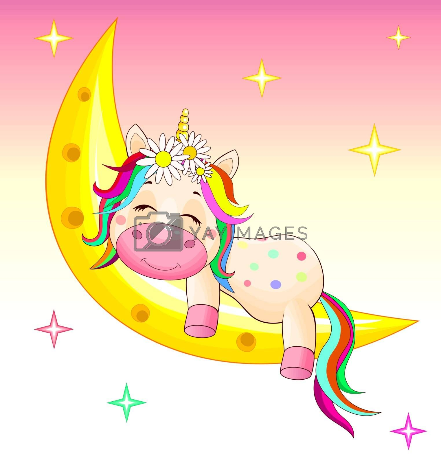 Baby unicorn on the moon by liolle