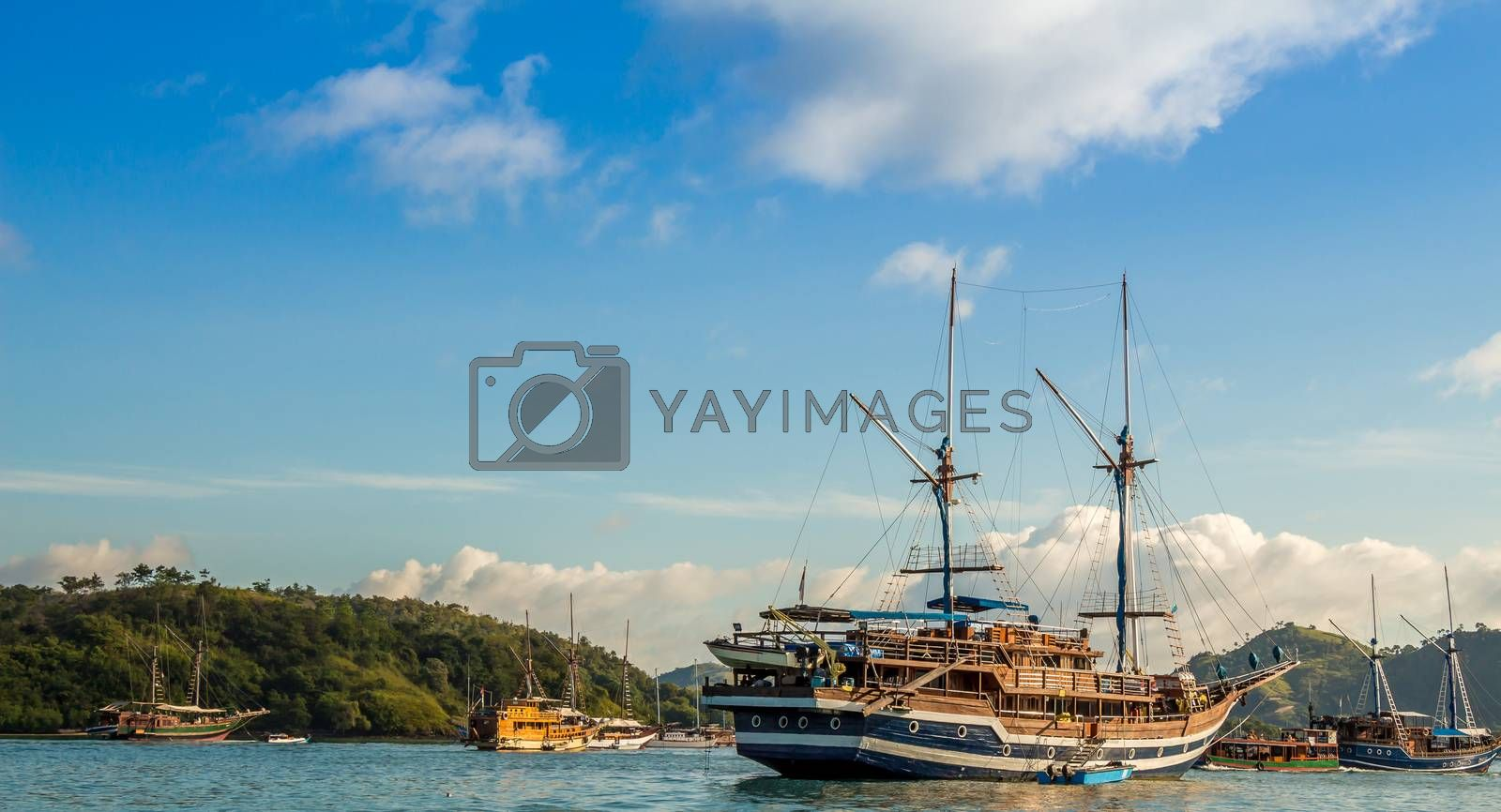 Large yachts in Labuan Bajo harbour in the morning, Flores, Indonesia