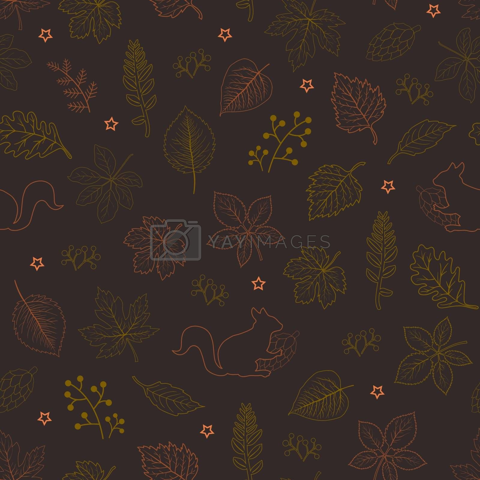 Hand drawn autumn leaves seamless pattern on dark brown background,for decorative,fabric,textile,print or wallpaper by PIMPAKA