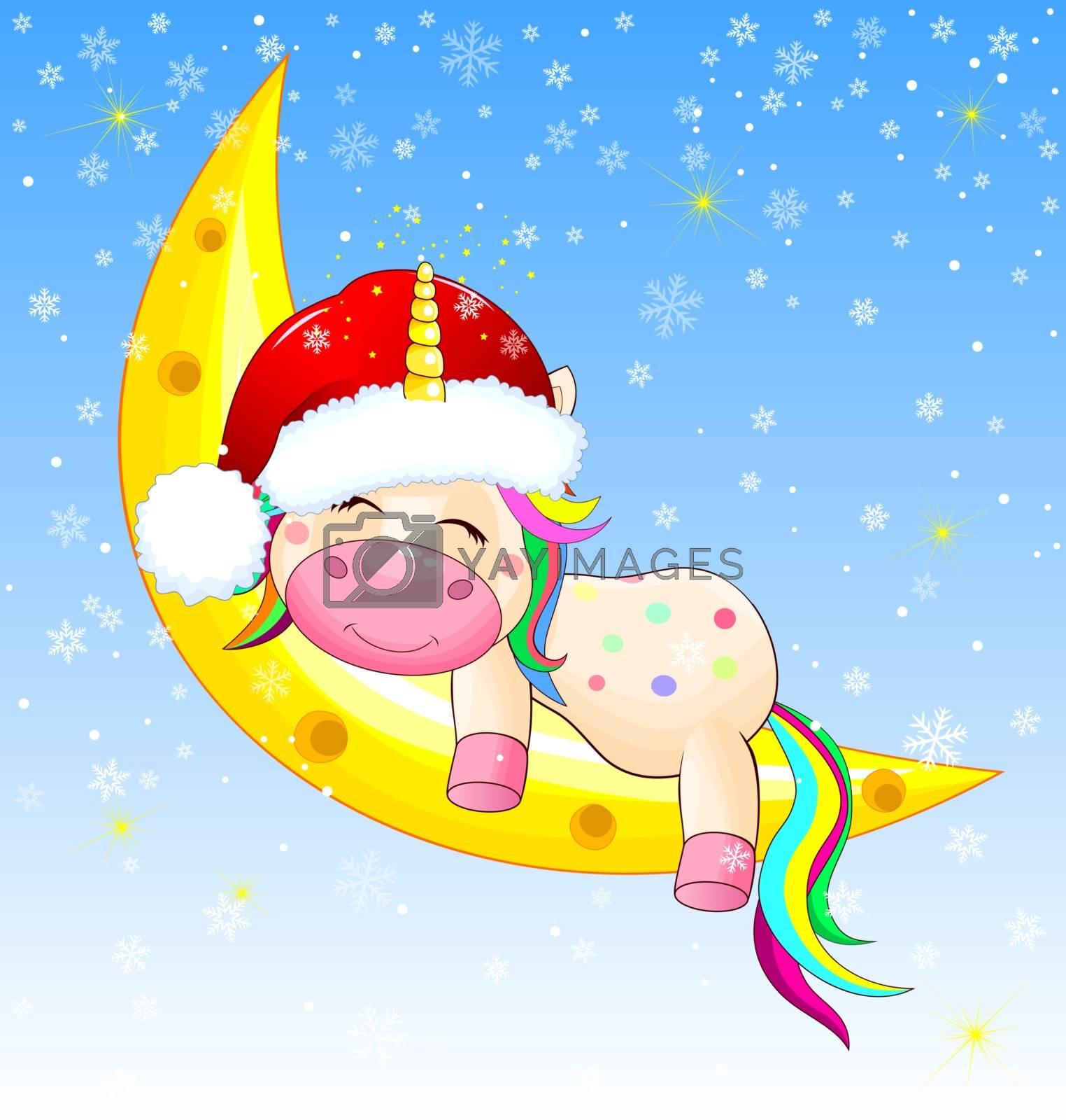 Little unicorn sleeping on the moon on Christmas night. Sky, snowflakes, glowing stars.