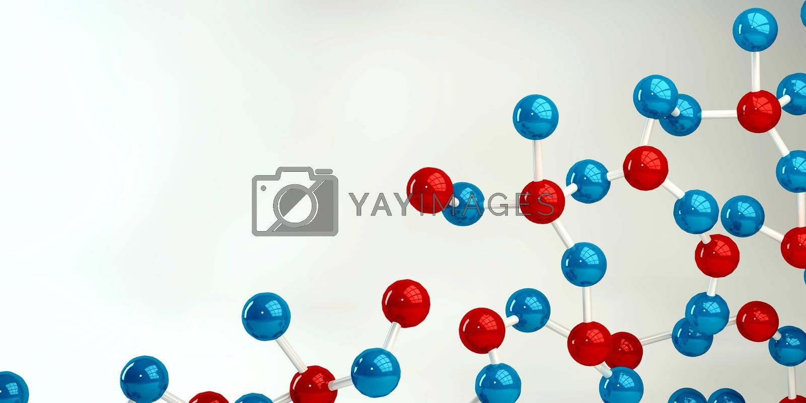 Abstract Molecules Design Background in Blue and Red