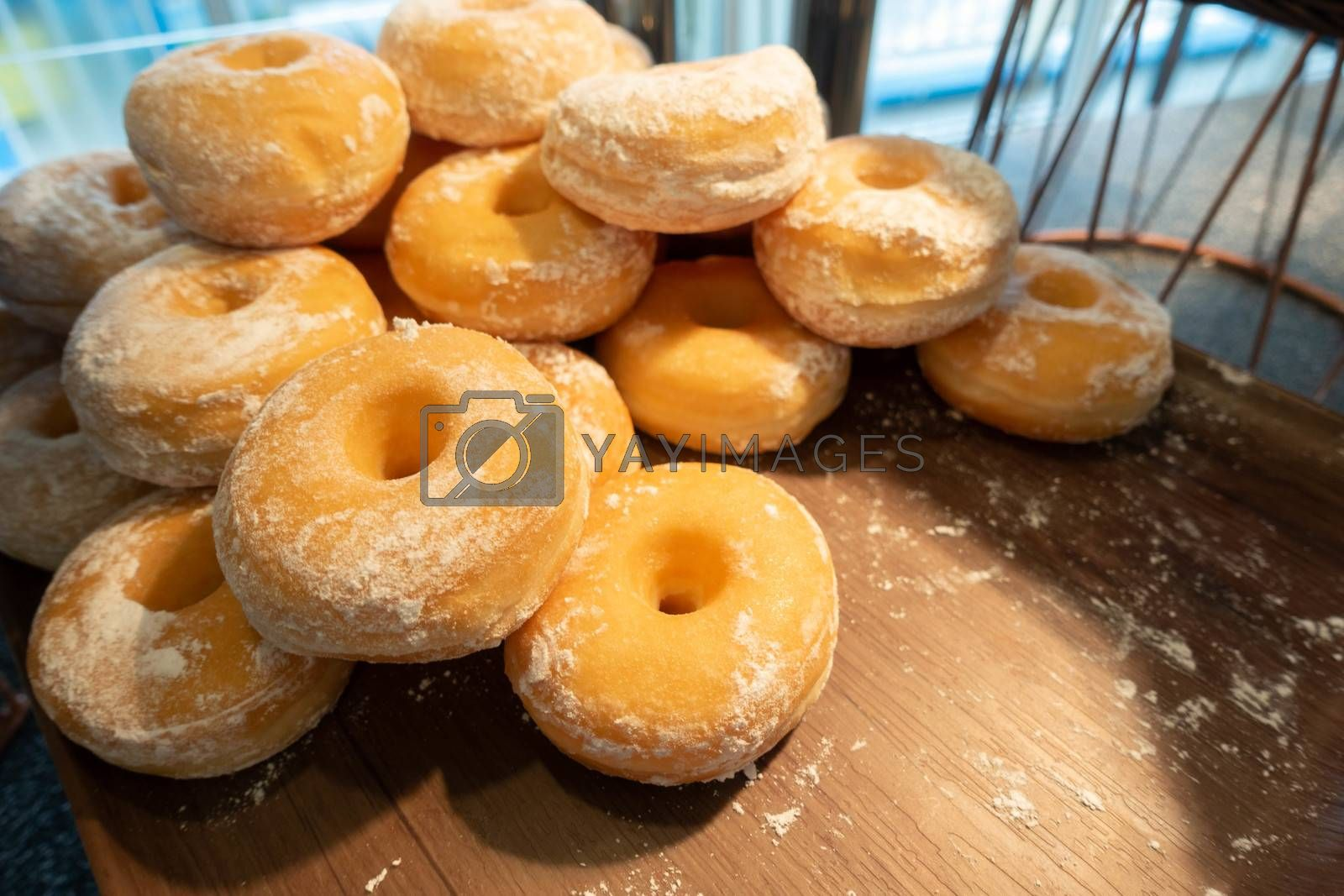 Glazed donut ready to be served as a breakfast