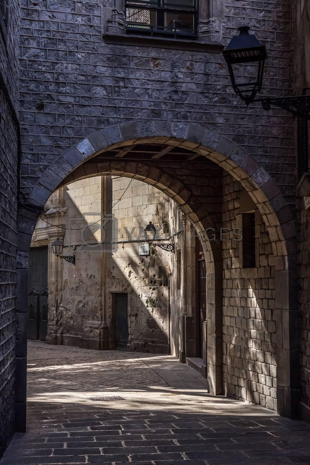 "Entrance to place ""Sant Felip Neri"" in Barcelona of Spain"