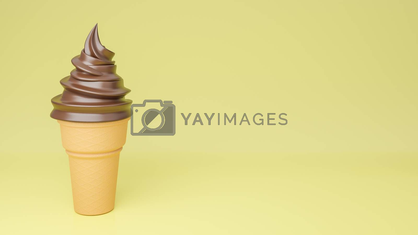 Soft serve ice cream of chocolate flavours on crispy cone on yellow background.,3d model and illustration.