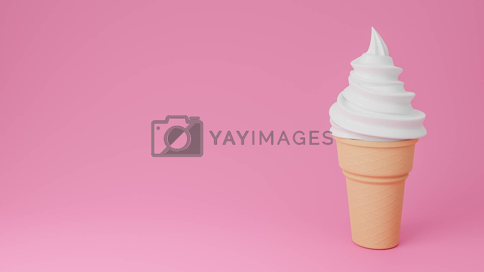 Soft serve ice cream of vanilla or milk flavours on crispy cone on pink background.,3d model and illustration.
