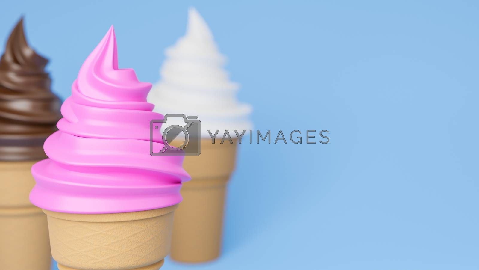 Close up Soft serve ice cream of strawberry, vanilla and chocolate flavours on crispy cone on blue background.,3d model and illustration.