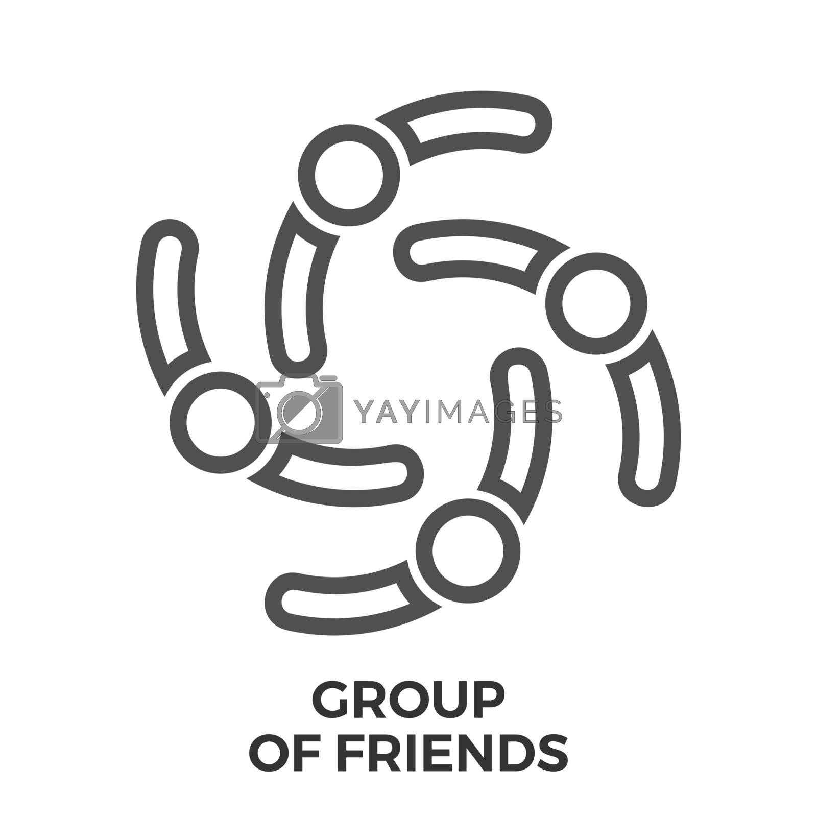 Group of Friends Thin Line Vector Icon Isolated on the White Background.