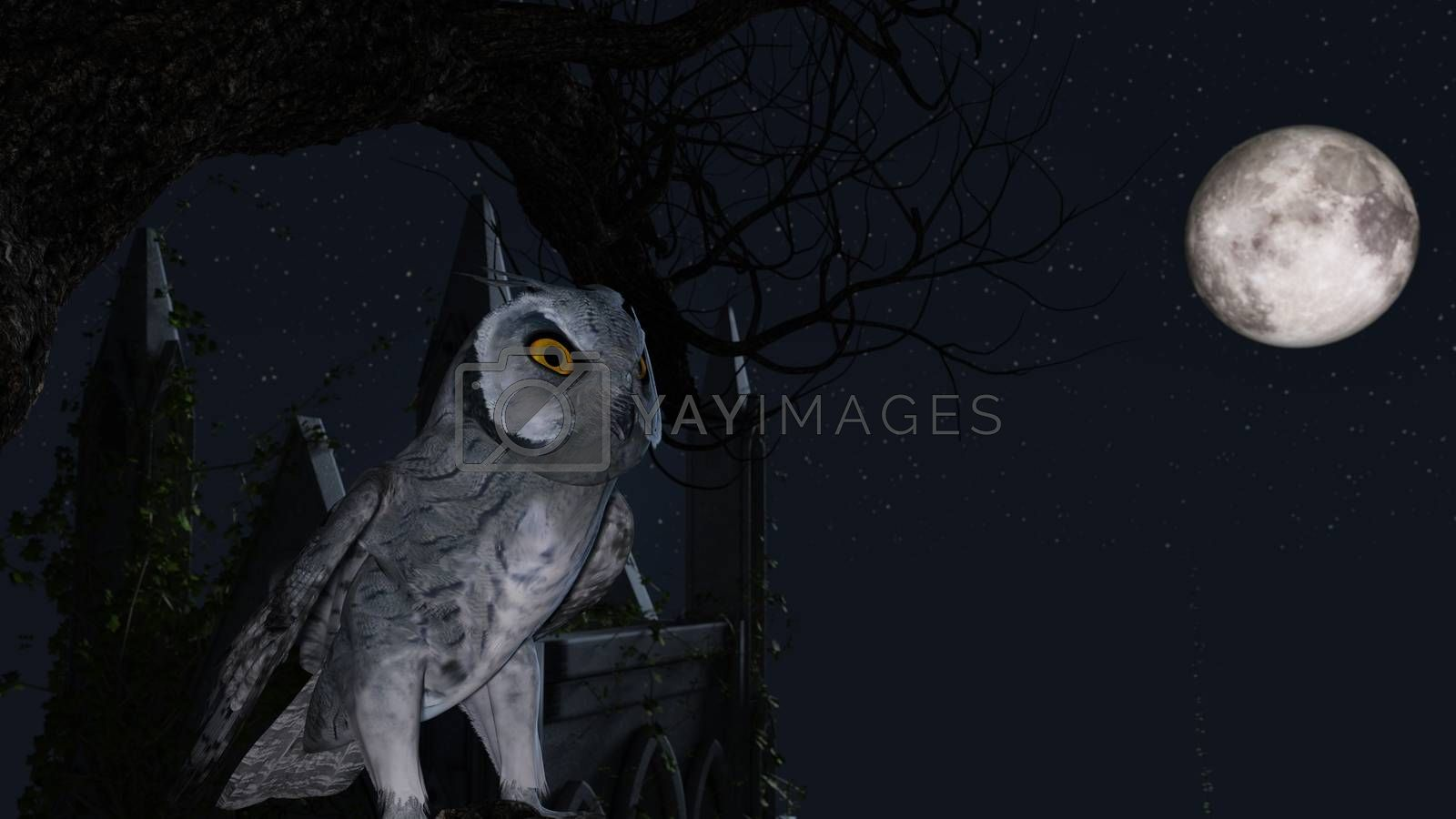 An owl sits motionless on a tree in the blue moonlight near a Mausoleum - 3d rendering