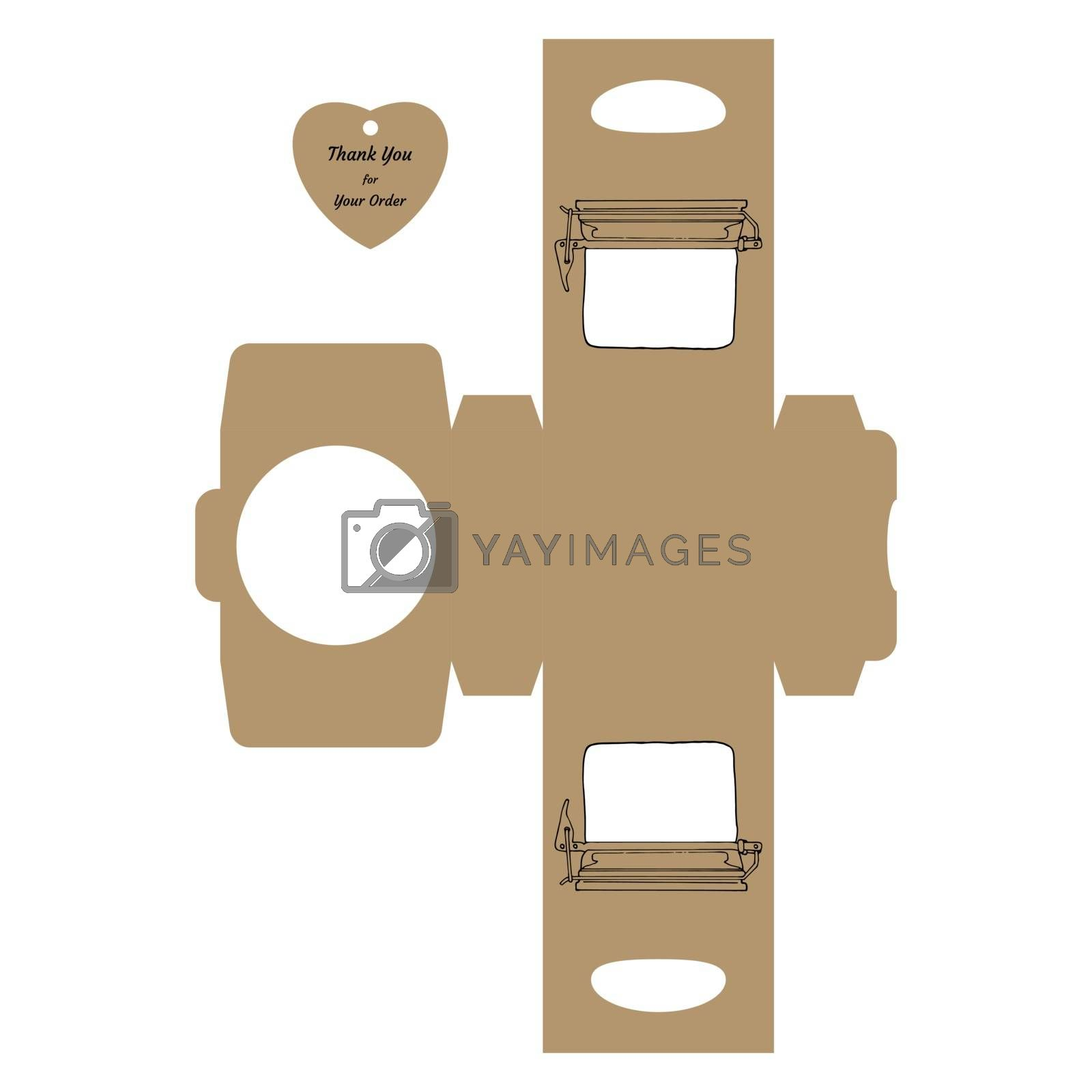 """Simple Packaging Box Die Cut Cube Template with jar and tag with text """"Thank You for Your Order"""" on white background - Vector Draw Graphic Design."""
