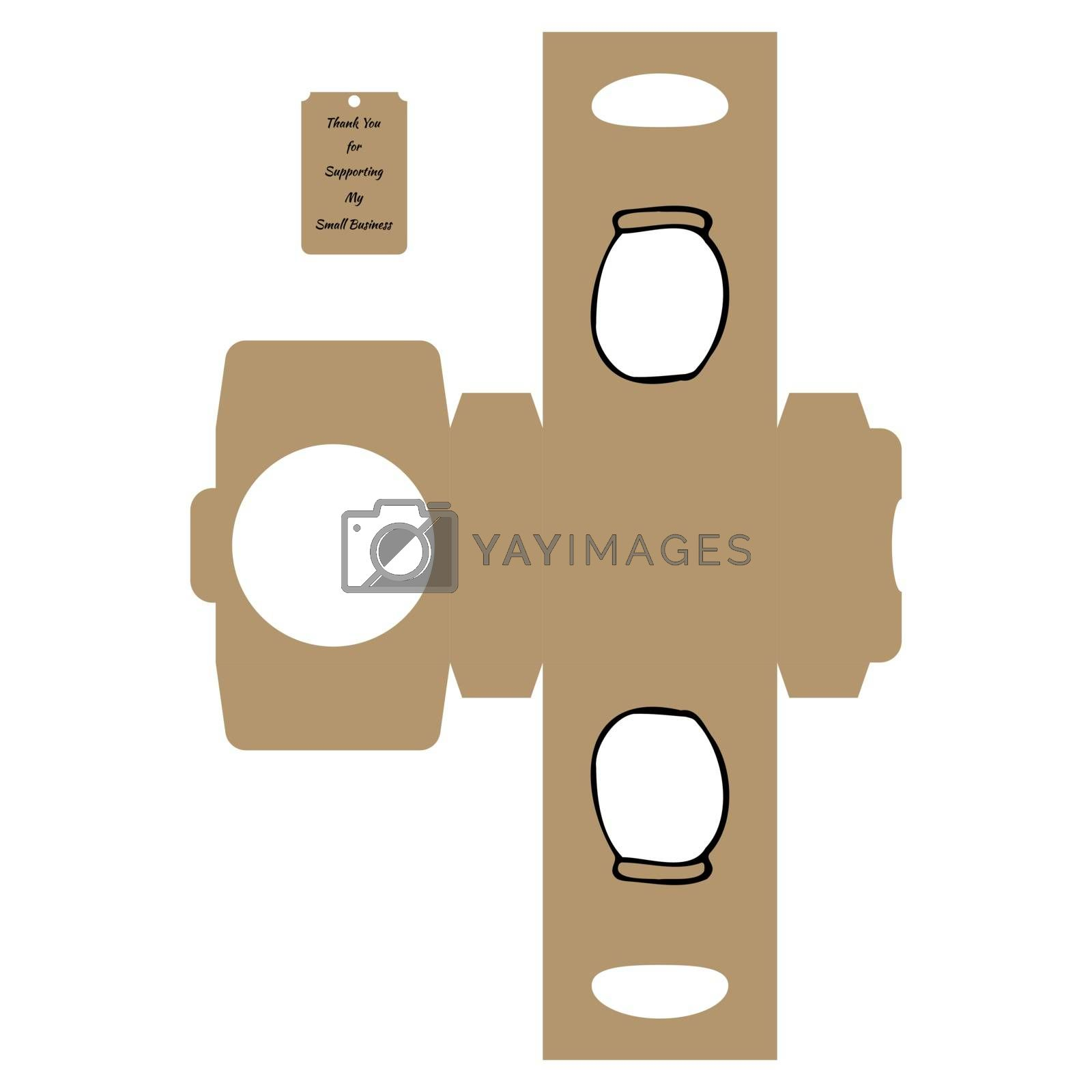 """Simple Packaging Box Die Cut Cube Template with jar and tag with text """"Thank You for Supporting My Small Business"""" on white background - Vector Draw Graphic Design."""