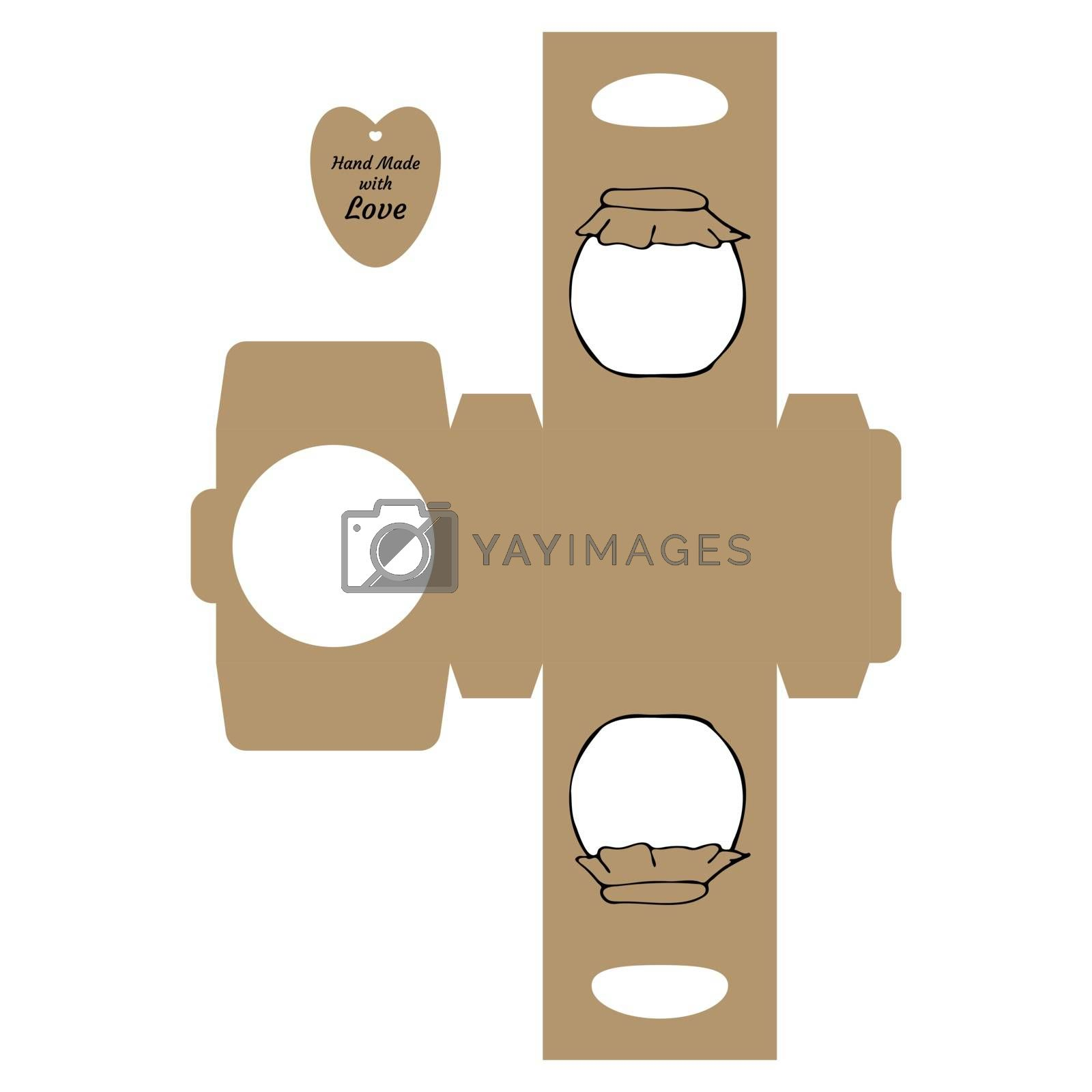 """Simple Packaging Box Die Cut Cube Template with jar and tag with text """"Thank You Hand Made with Love"""" on white background - Vector Draw Graphic Design."""