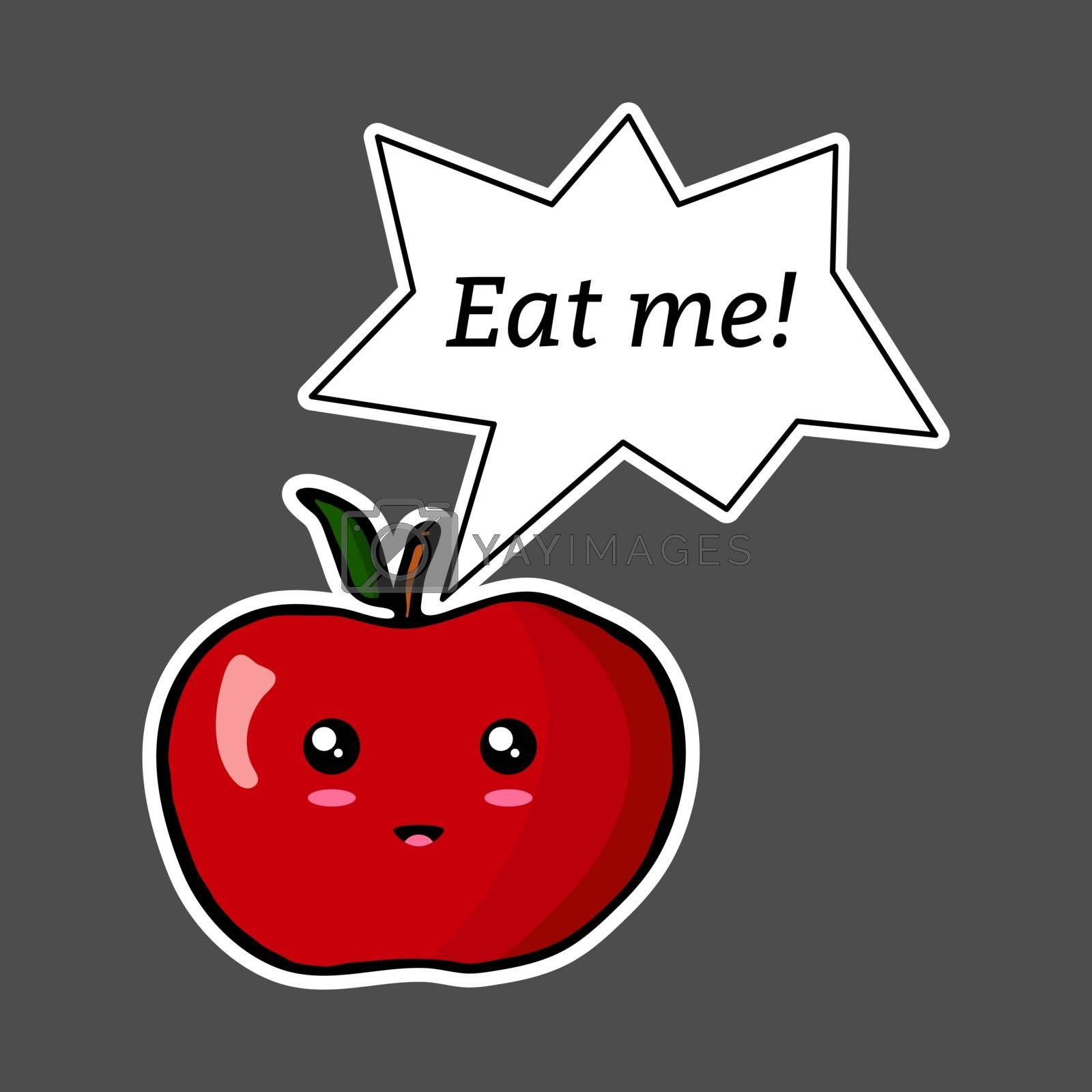 Kawaii sticker colorful cartoon apple with speech bubble 'Eat me!'. Vector illustration isolated on dark background.