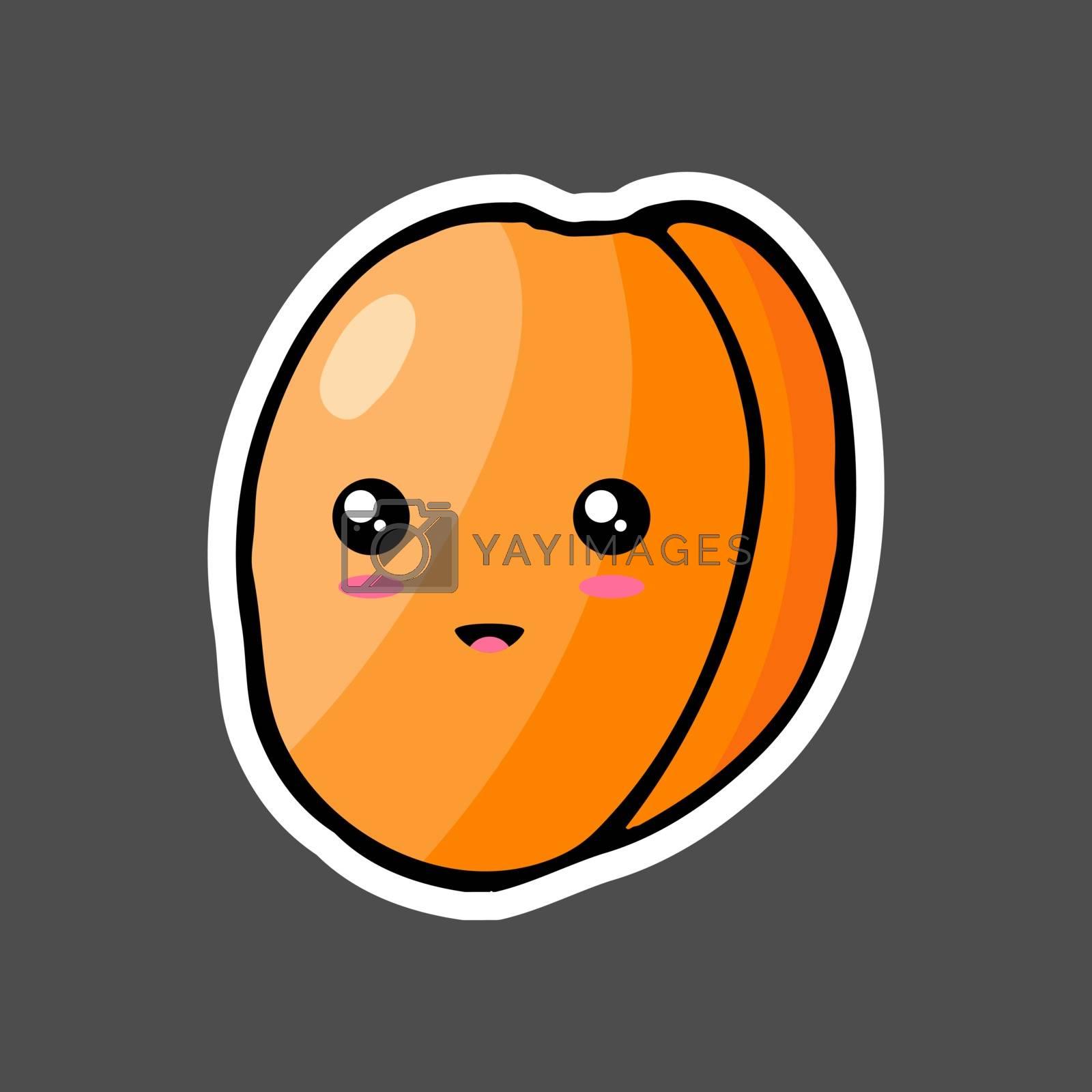 Kawaii colorful cartoon apricot sticker. Vector illustration isolated on dark background.