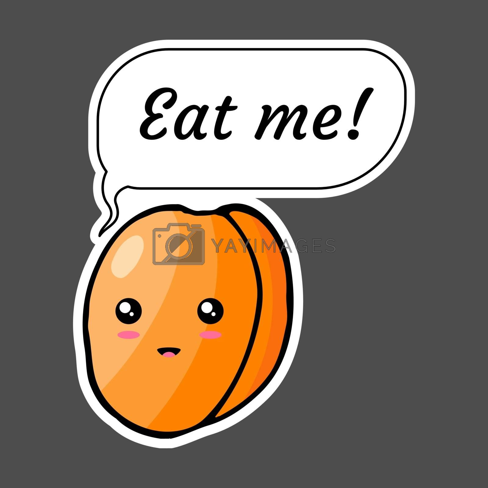 Kawaii sticker colorful cartoon apricot with speech bubble 'Eat me!'. Vector illustration isolated on dark background.