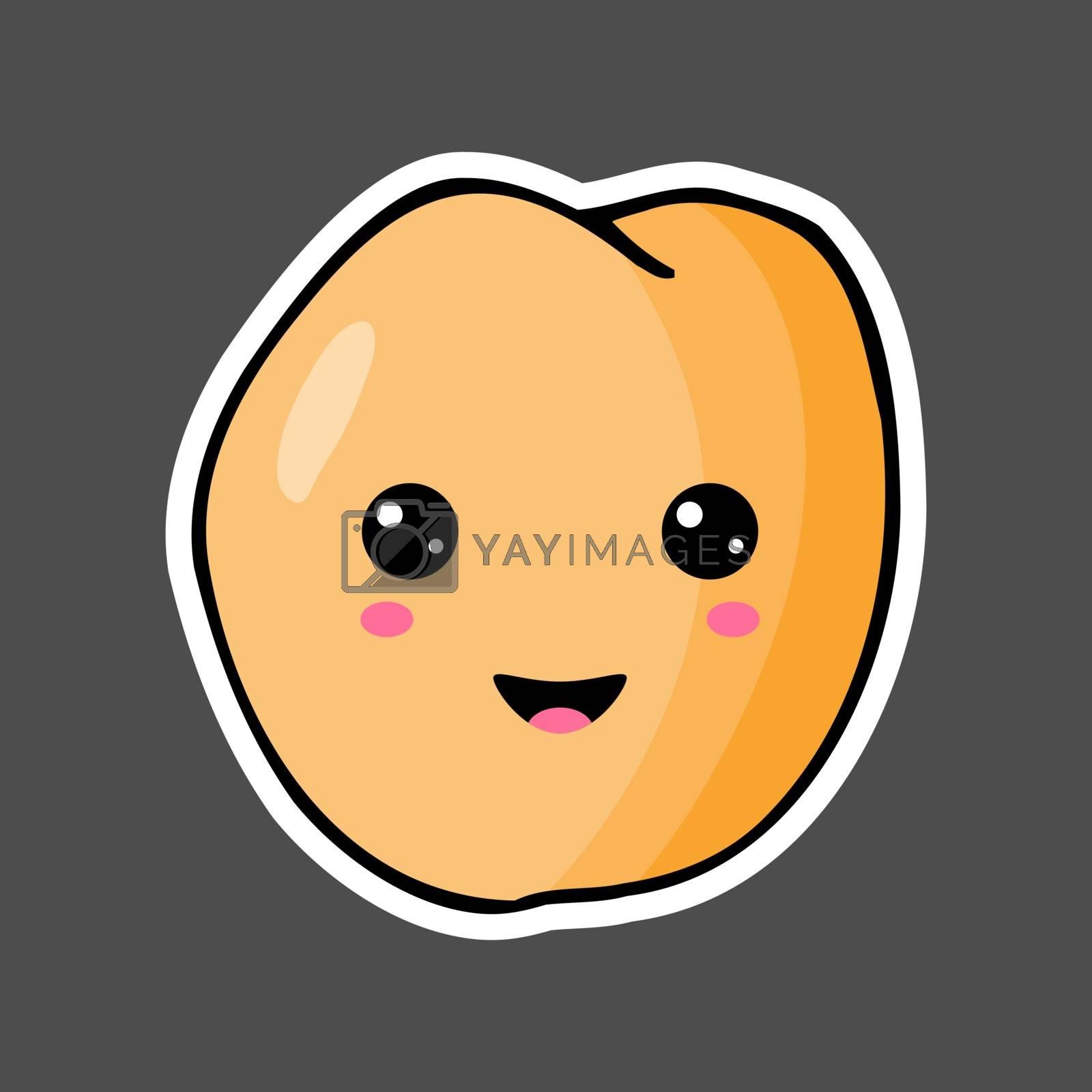 Kawaii colorful cartoon peach sticker. Vector illustration isolated on dark background.