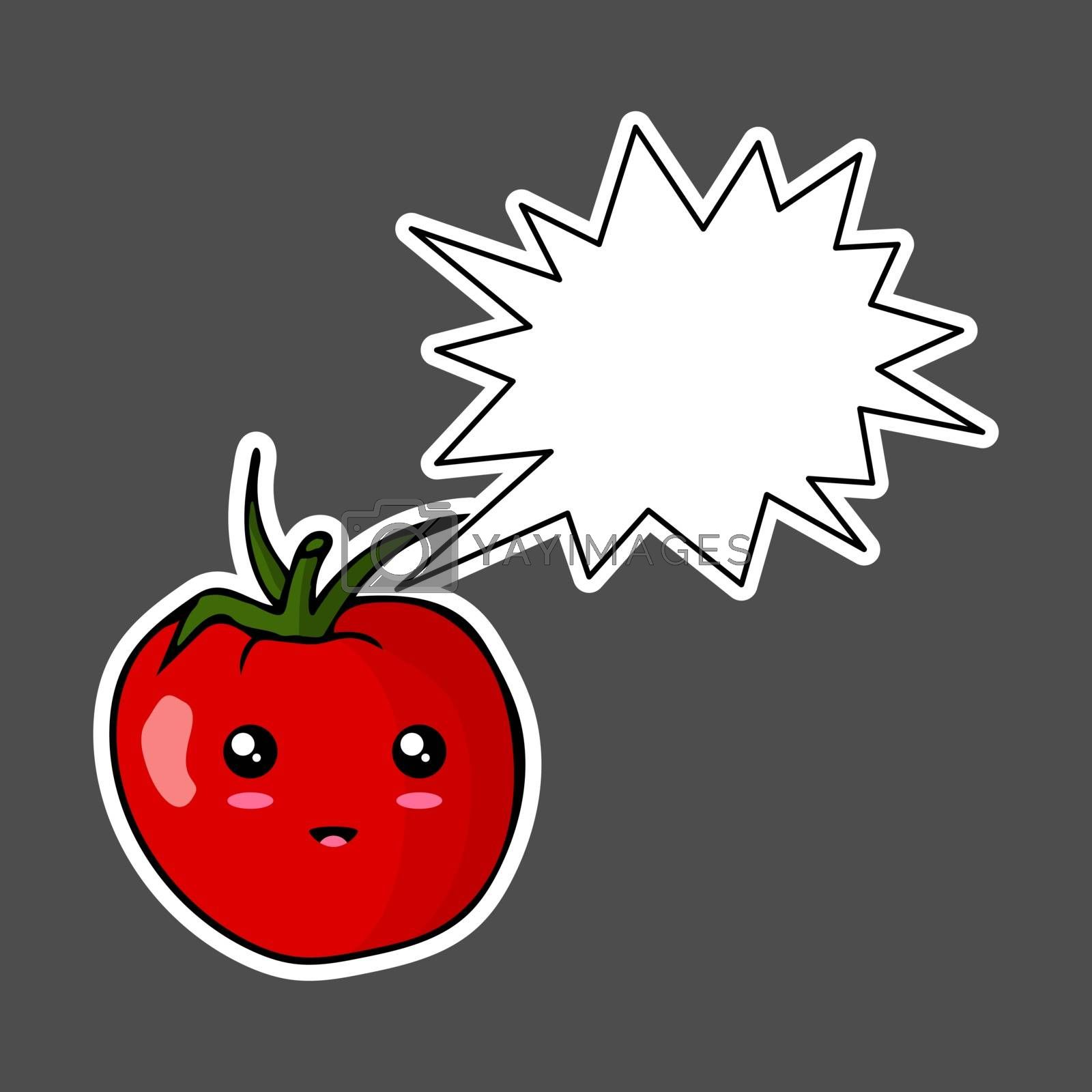 Kawaii sticker colorful cartoon tomato with thought bubble. Vector illustration isolated on dark background.