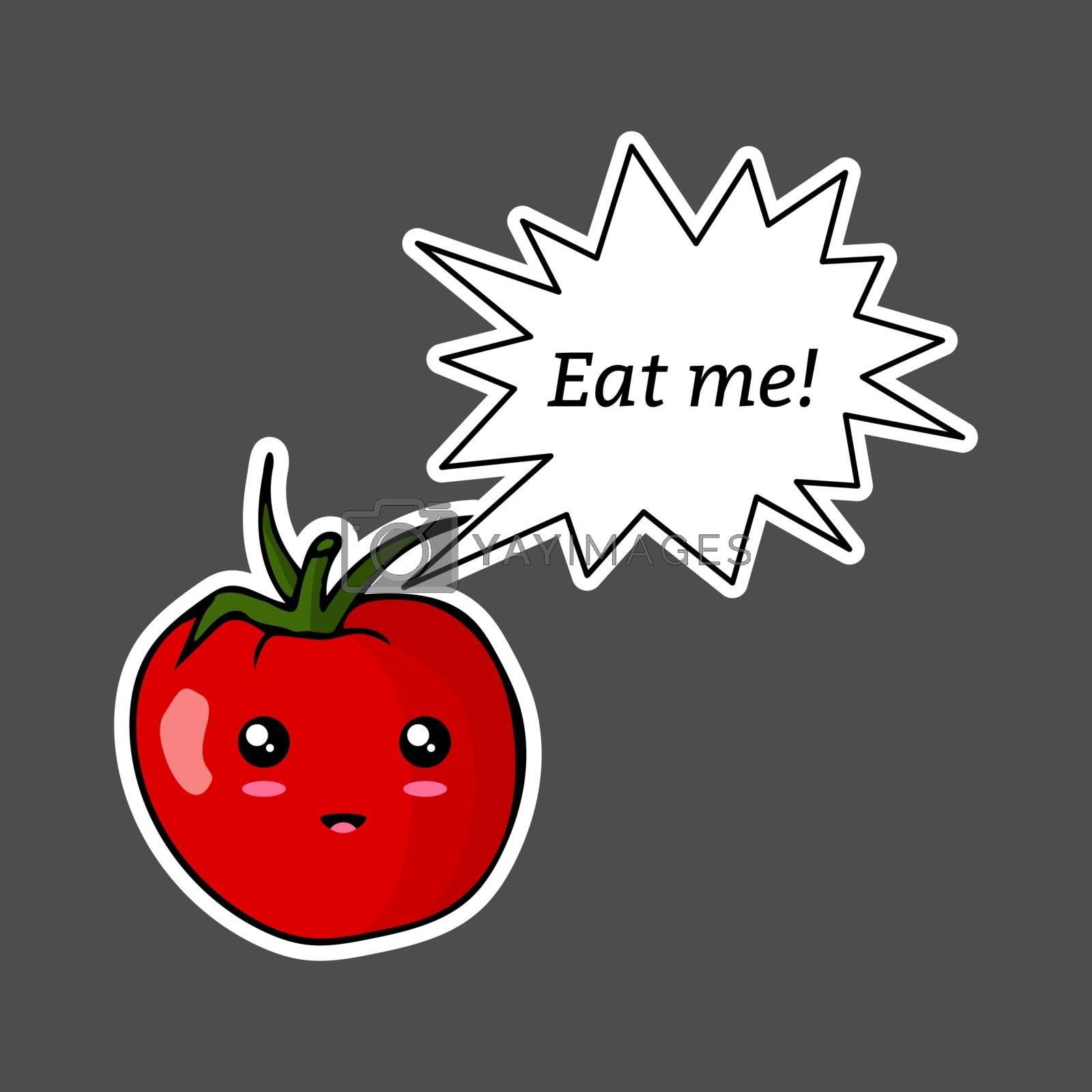 Kawaii sticker colorful cartoon tomato with speech bubble 'Eat me!'. Vector illustration isolated on dark background.