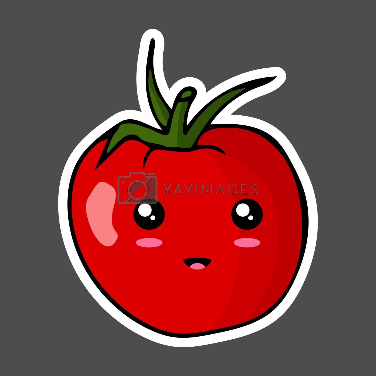 Kawaii colorful cartoon tomato sticker. Vector illustration isolated on dark background.