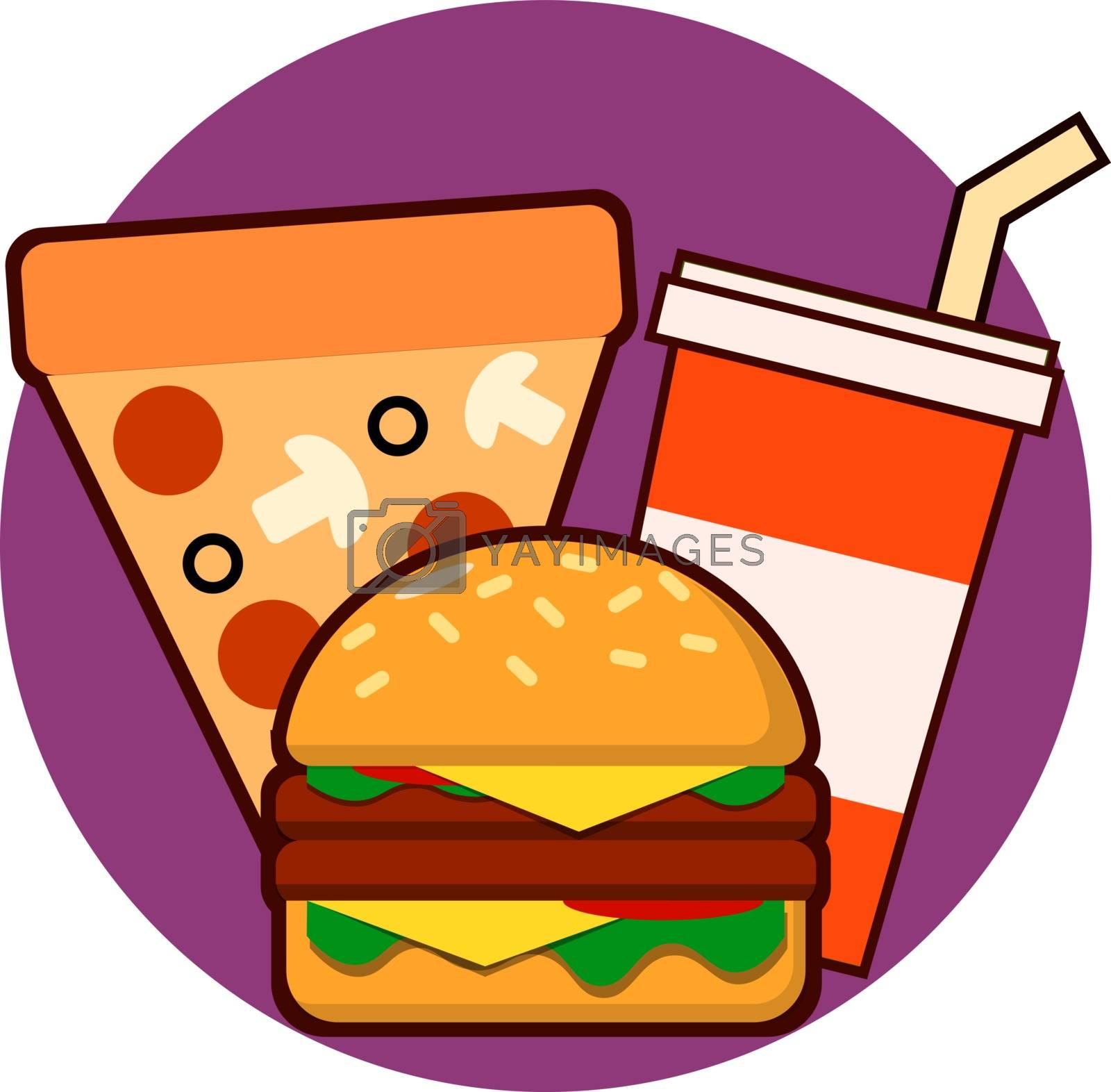 Fast food combo icon hamburge pizza drink Vector illustration EPS
