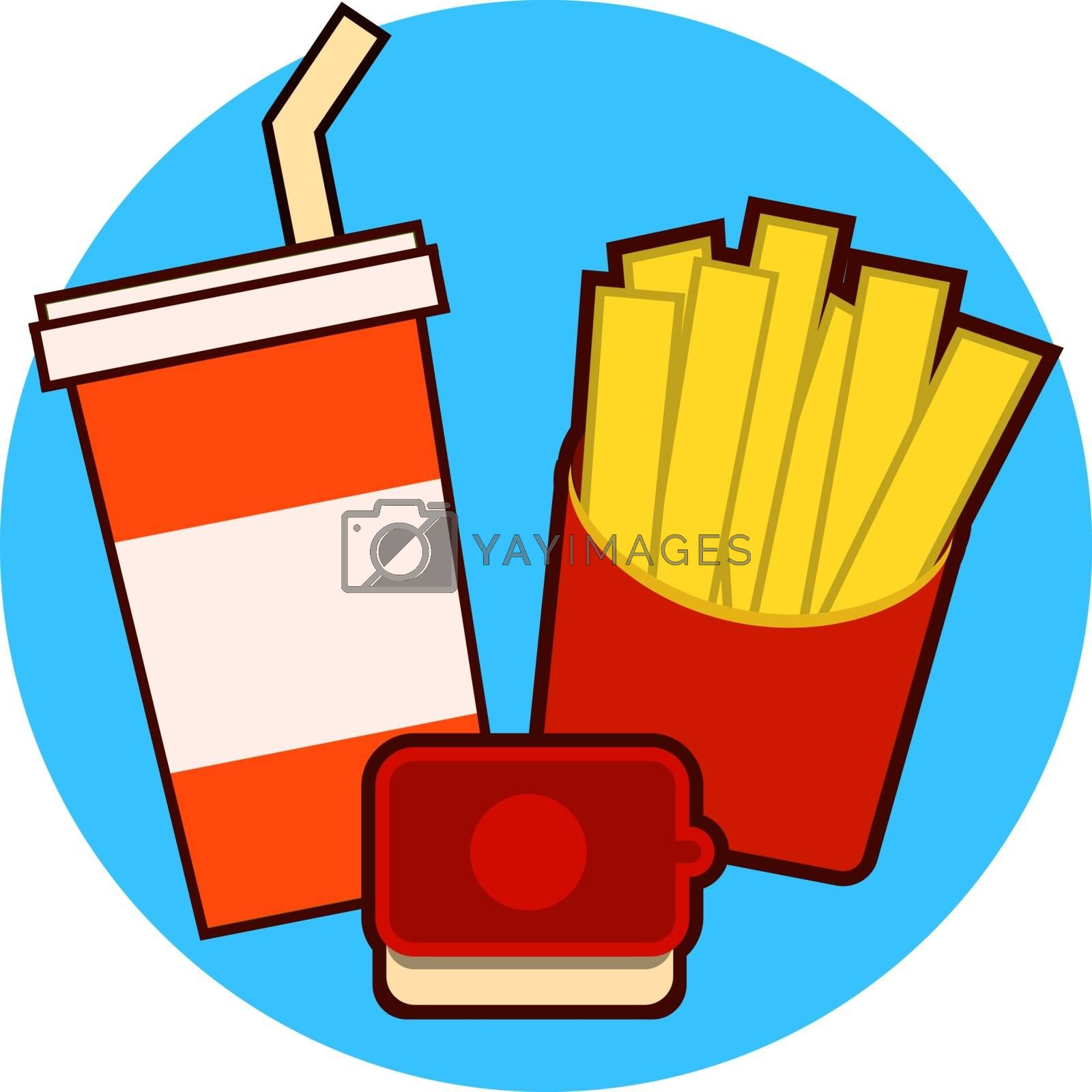 Fast food combo icon with french fries and soda on a blue background vector illustration EPS