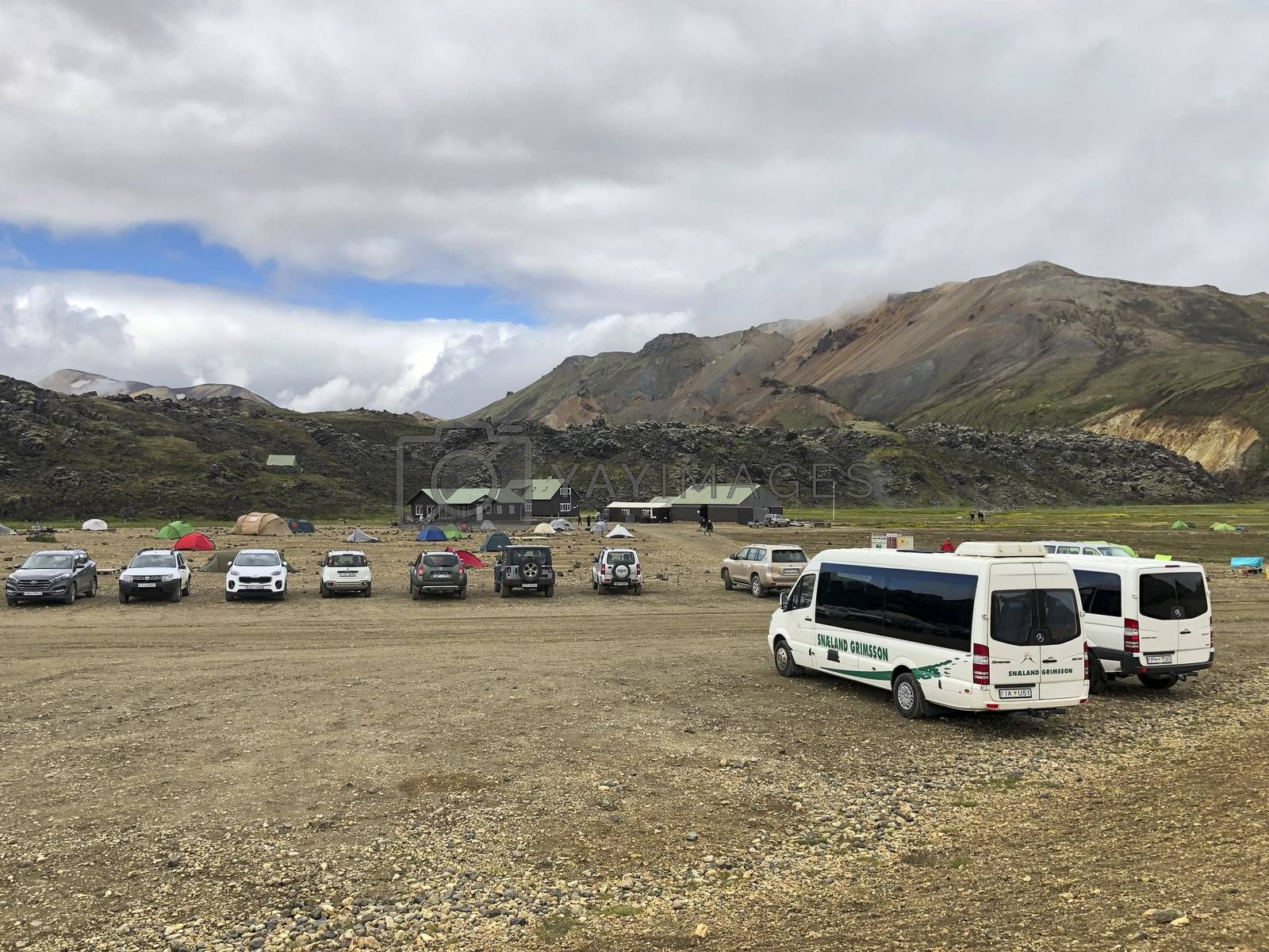 View at the Brennisteinsalda Camping in Iceland, part of the Laugavegur hiking trail. Travel and tourism.