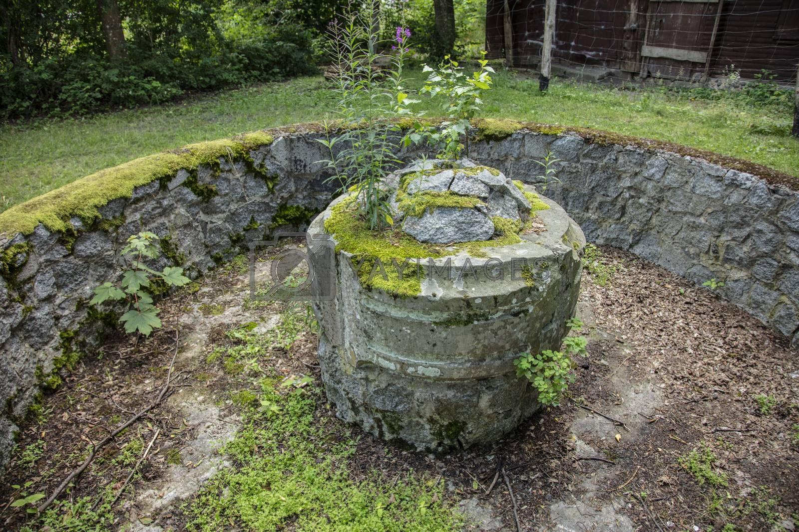 old concrete stone dry fountain