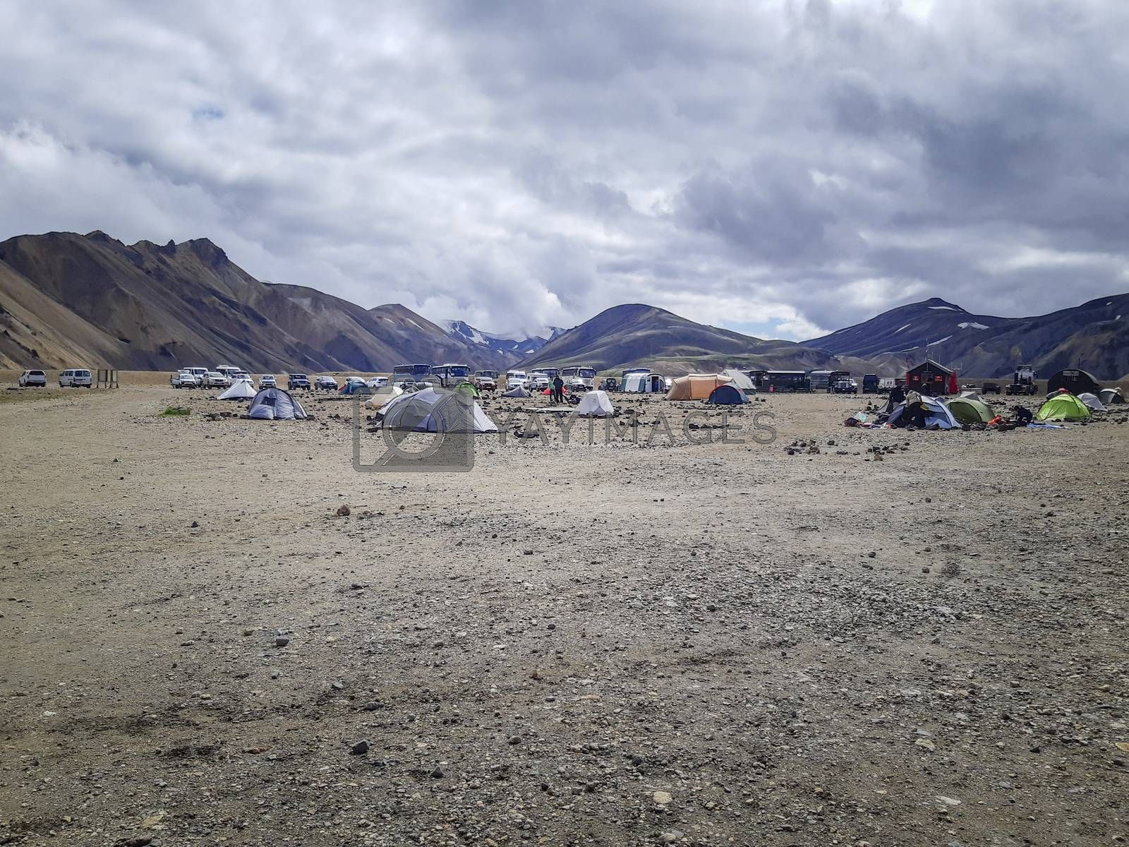 July 2019, Brennisteinsalda, Iceland: Camping Laugavegur hiking trail in Iceland