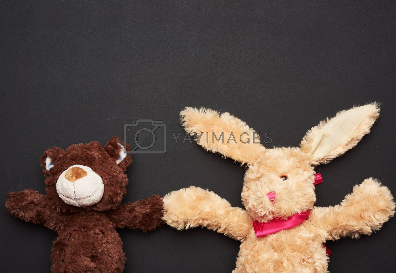 beige plush rabbit toy with long ears and a brown bear on a black background, copy space