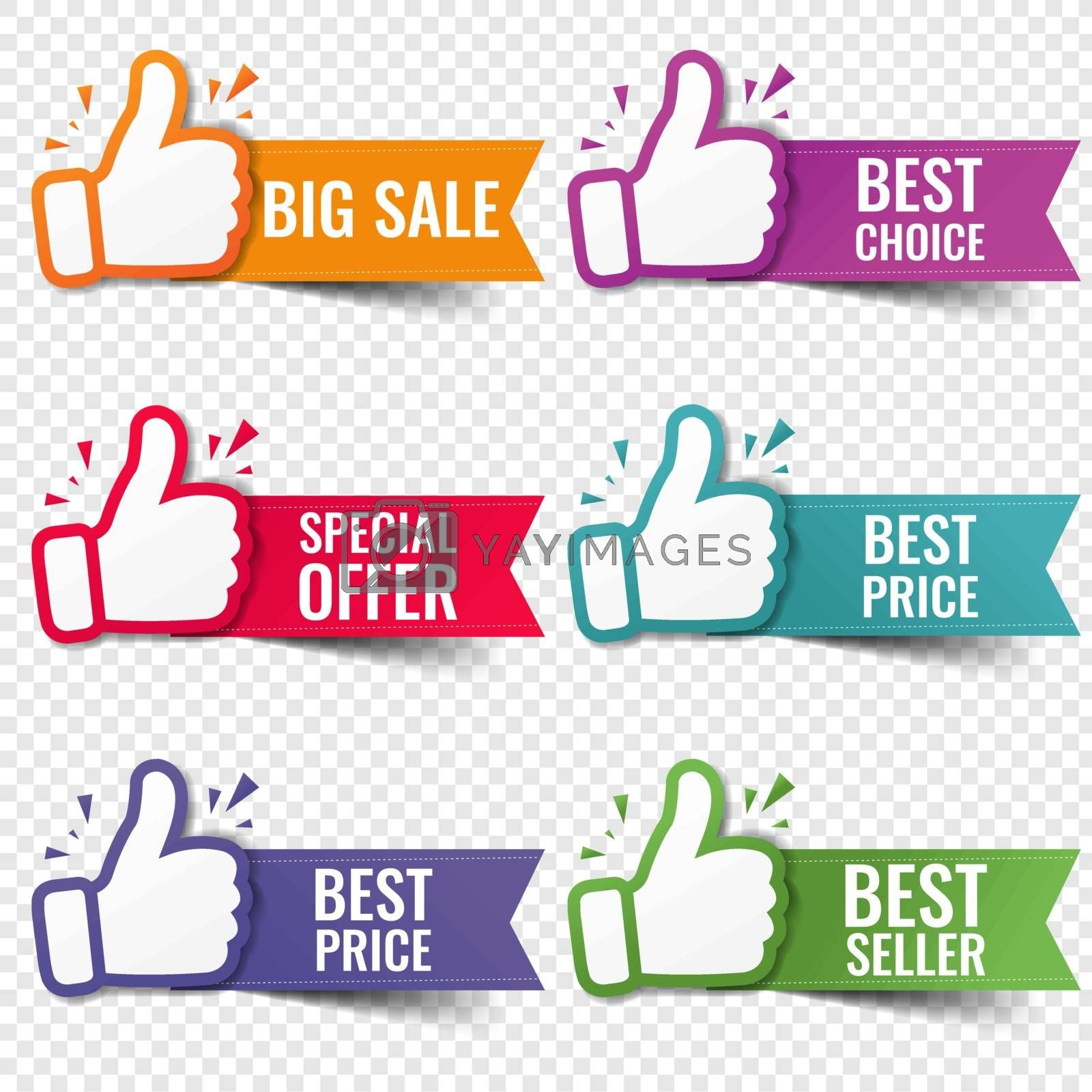 Banner Recommended With Thumbs Up Transparent Background With Gradient Mesh, Vector Illustration