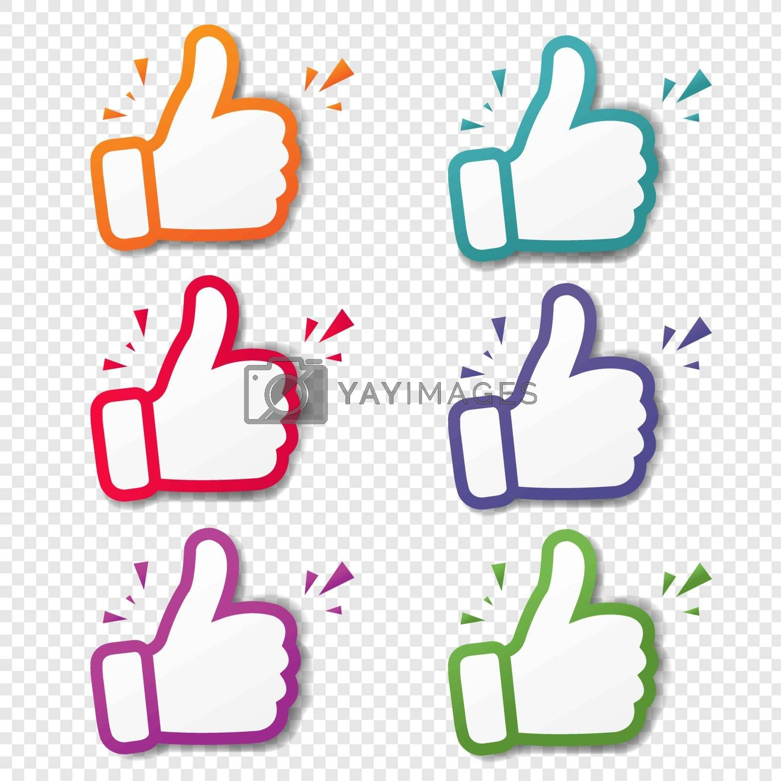 Hand Banner Recommended With Thumbs Up Transparent Background With Gradient Mesh, Vector Illustration