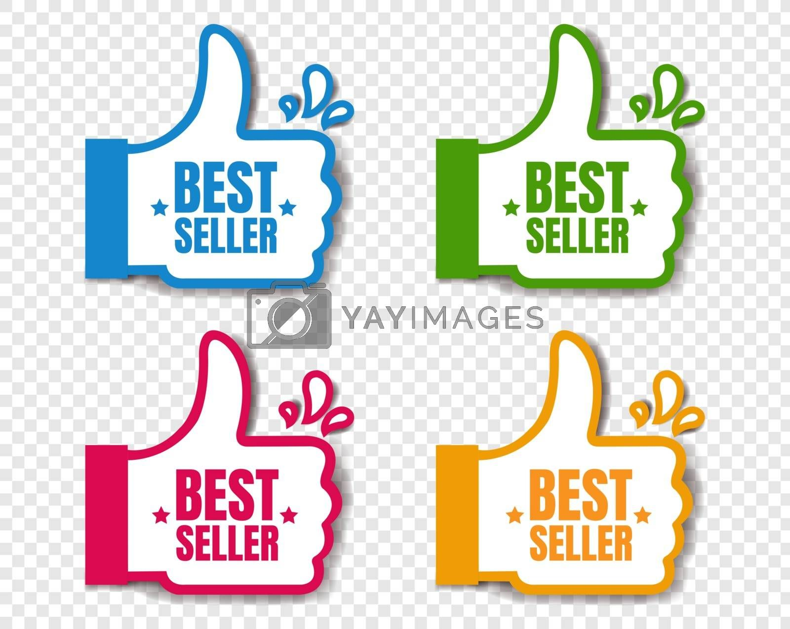 Bestseller Stickers Isolated Transparent Background With Gradient Mesh, Vector Illustration