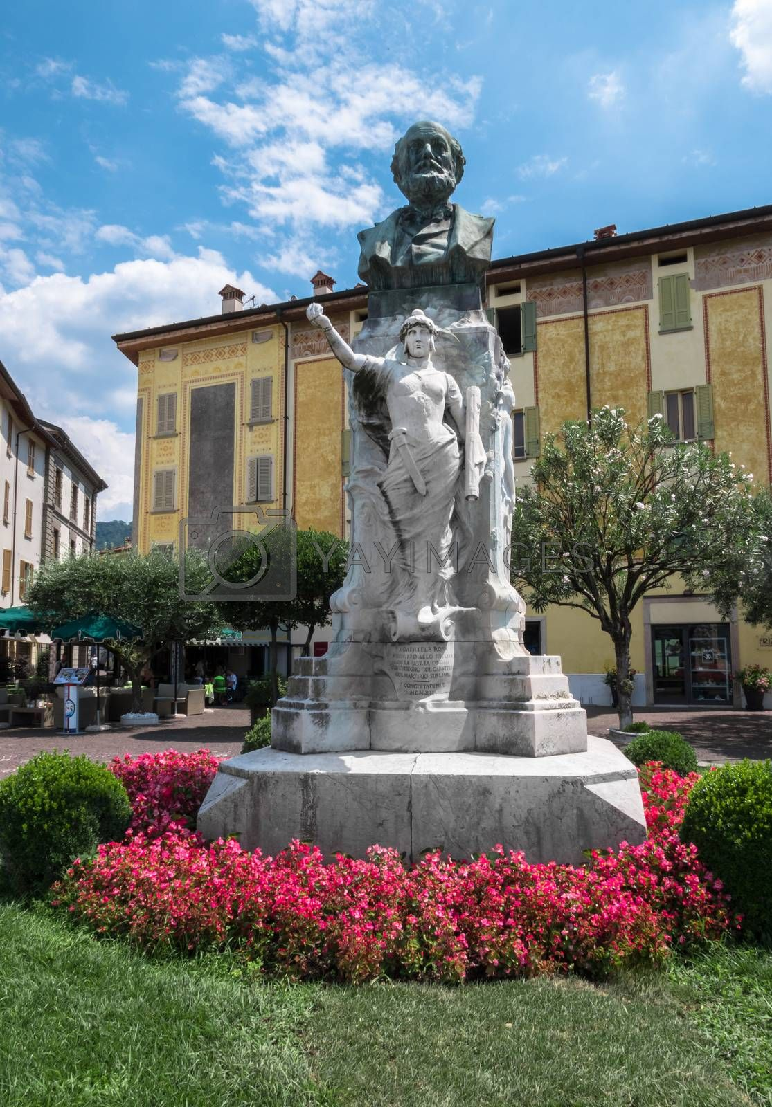 Statue of Gabriele Rosa. Iseo (BS), ITALY - July 24, 2018.