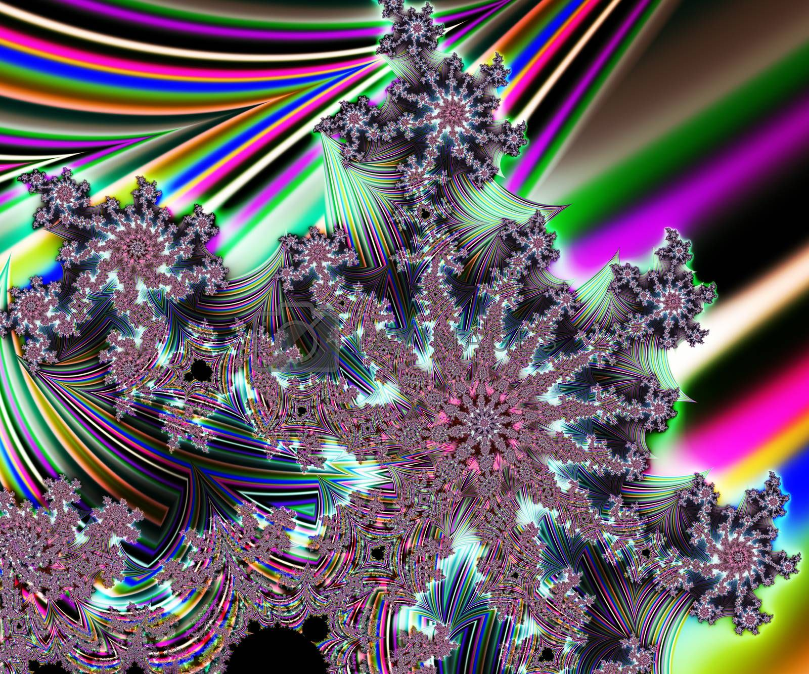 Computer generated abstract colorful fractal artwork for creative design, art, home decoration, entertainment, and mobile and PC screen wallpaper