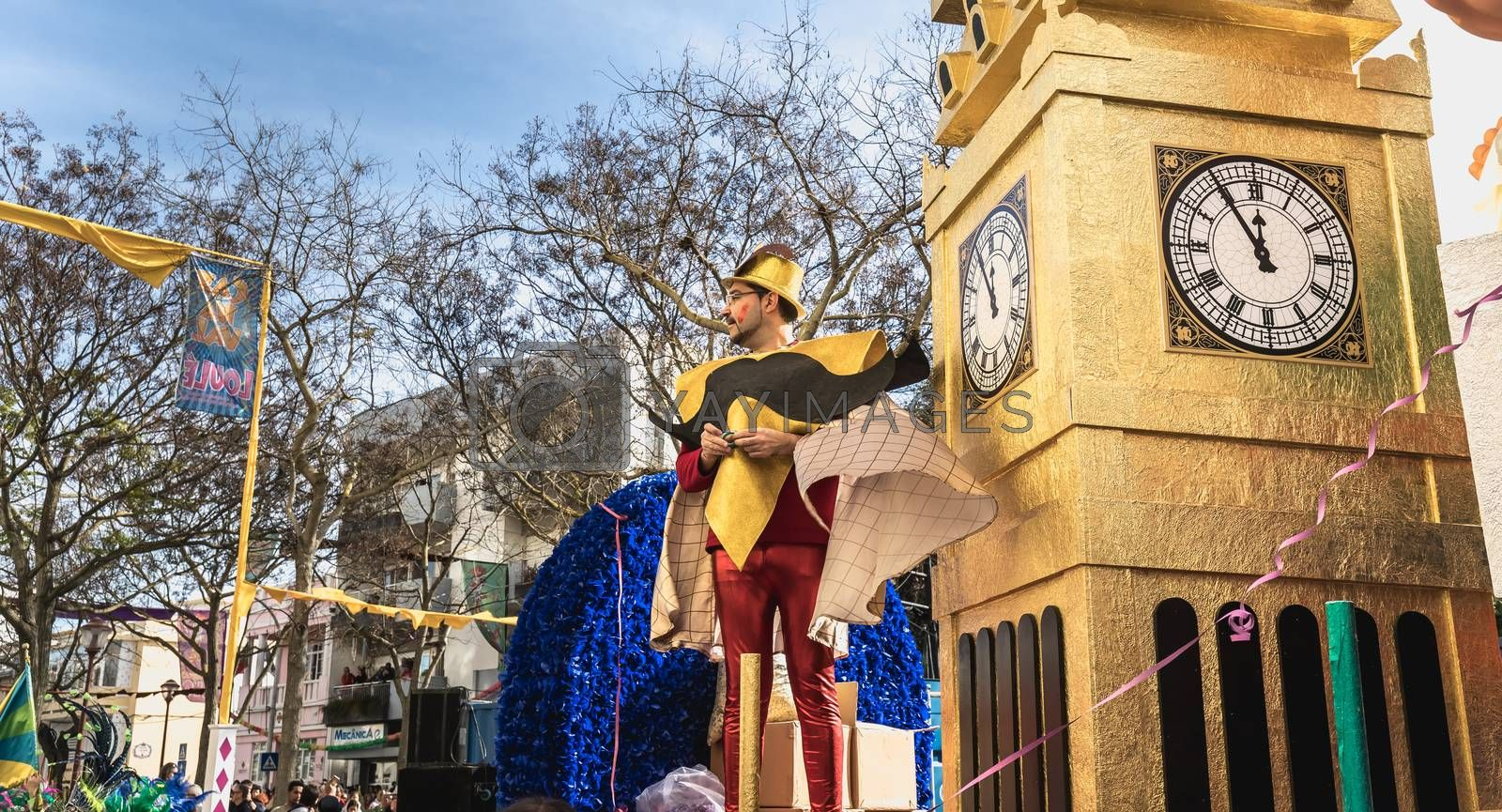 Loule, Portugal - February 25, 2020: BREXIT float parading in the street in front of the public in the parade of the traditional carnival of Loule city on a February day