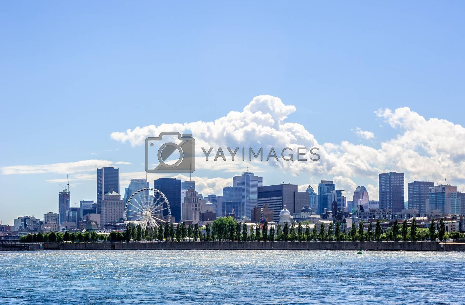 MONTREAL, CANADA - JUNE 15, 2018: Downtown buildings and waterfront of the city can be seen from St. Helen's Island.