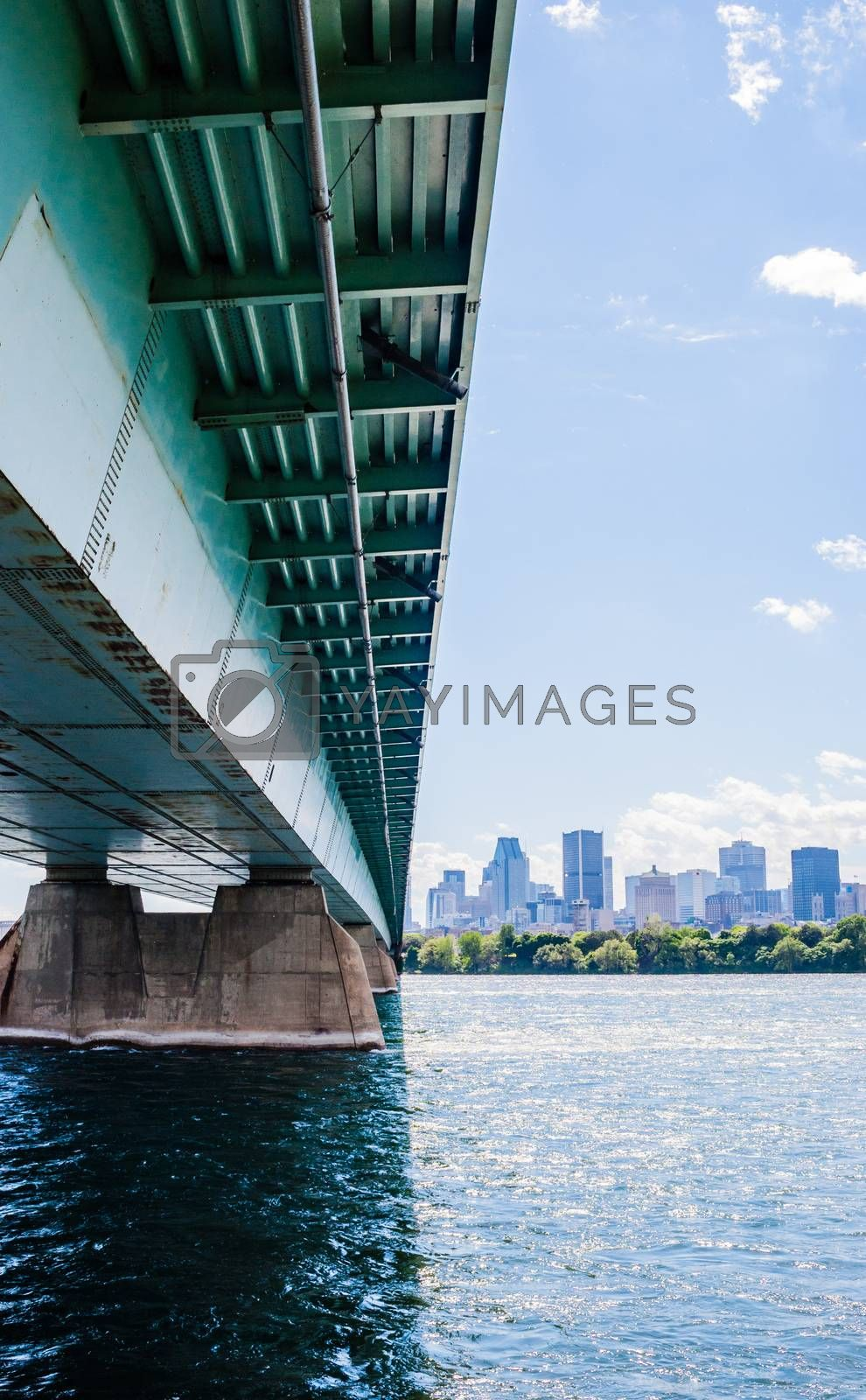 MONTREAL, CANADA - JUNE 15, 2018: The Concordia Bridge links the southern point of St. Helen's Island and Notre Dame Island to downtown Montreal, acrosss the St. Lawrence River.