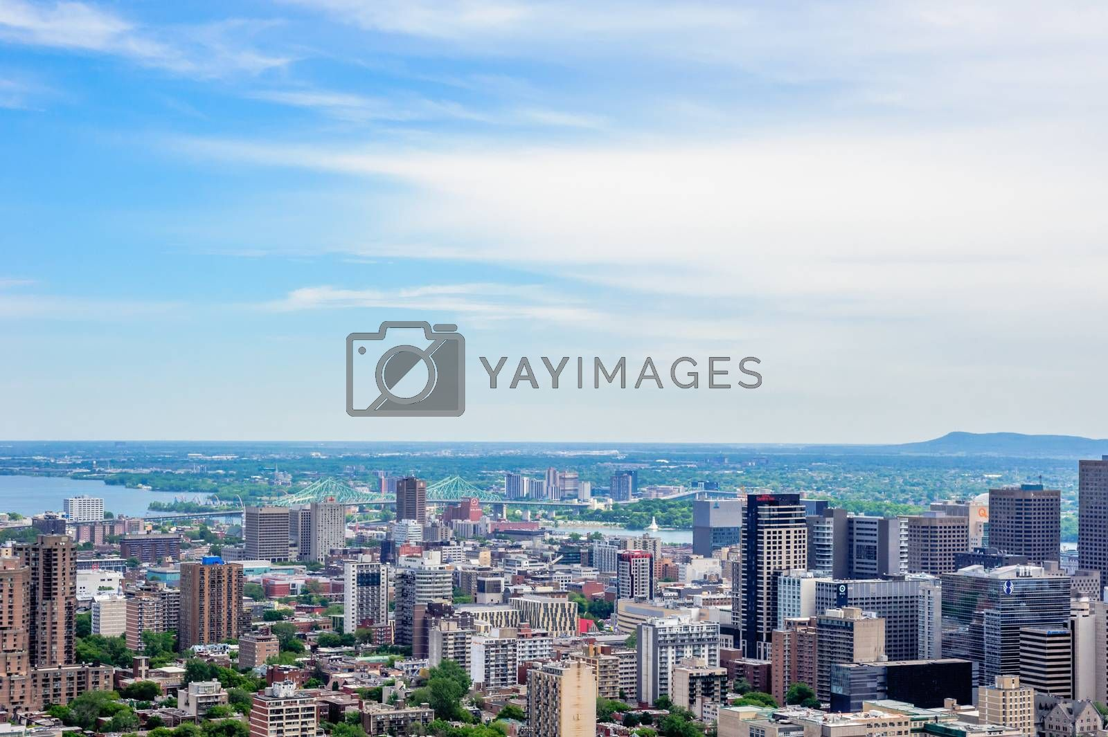 MONTREAL, CANADA - JUNE 16, 2018: Part of the downtown and surrounding areas can be seen looking north-east from Mount Royal.