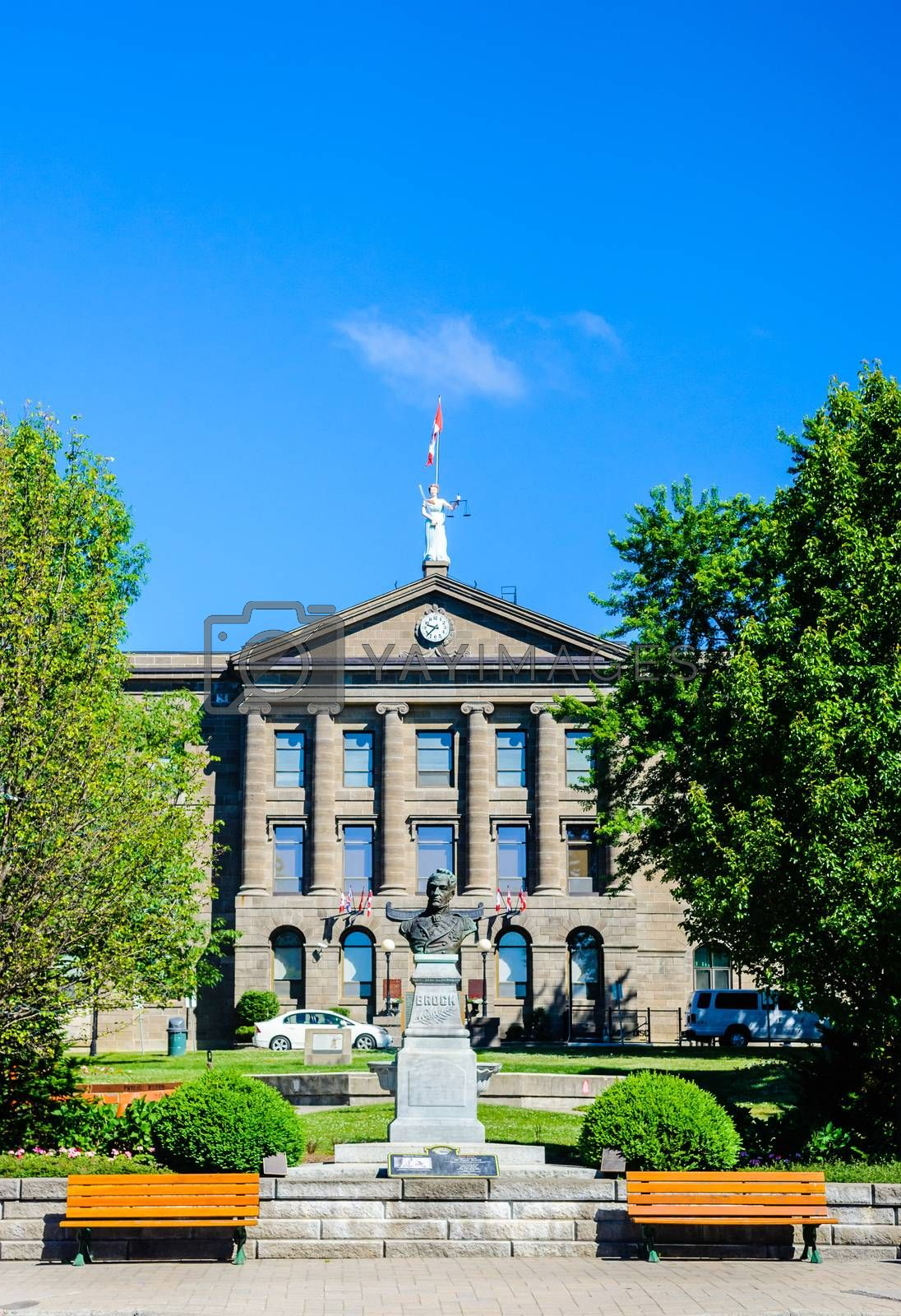 BROCKVILLE, ONTARIO, CANADA - JUNE 19, 2018: The county court house overlooks a monument of Sir Isaac Brock, and is a historic site.