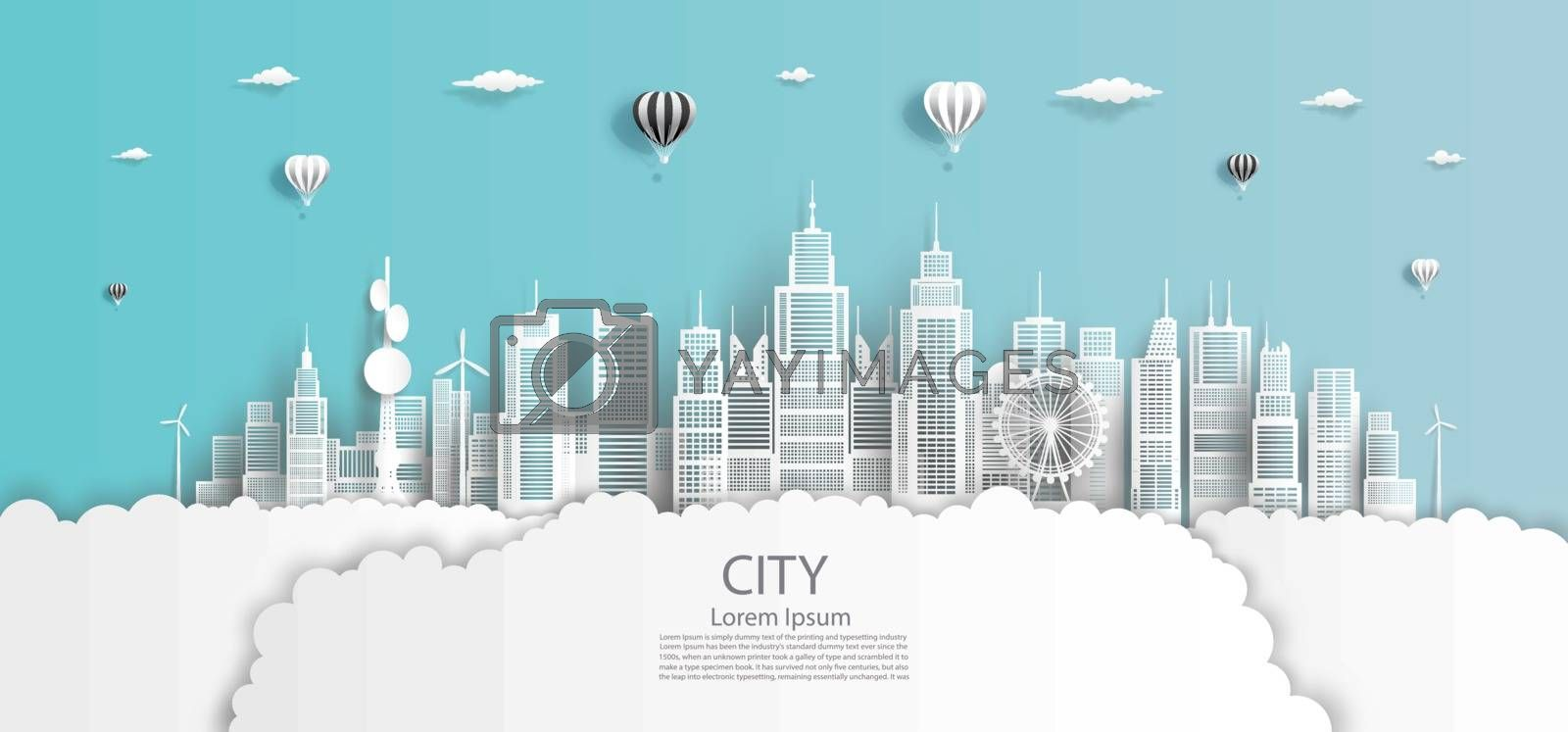 Modern economic city clean in downtown skyscraper background, Eco cityscape building futuristic skyline panorama view, Vector illustration design network communication in city on blue background.