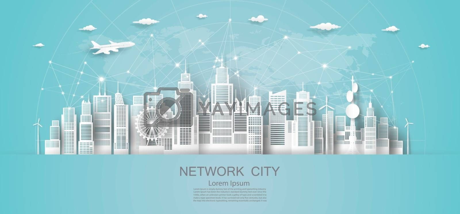 Modern economic technology city network in downtown skyscraper background, Eco cityscape building futuristic skyline, Vector illustration design network communication in city on blue background.