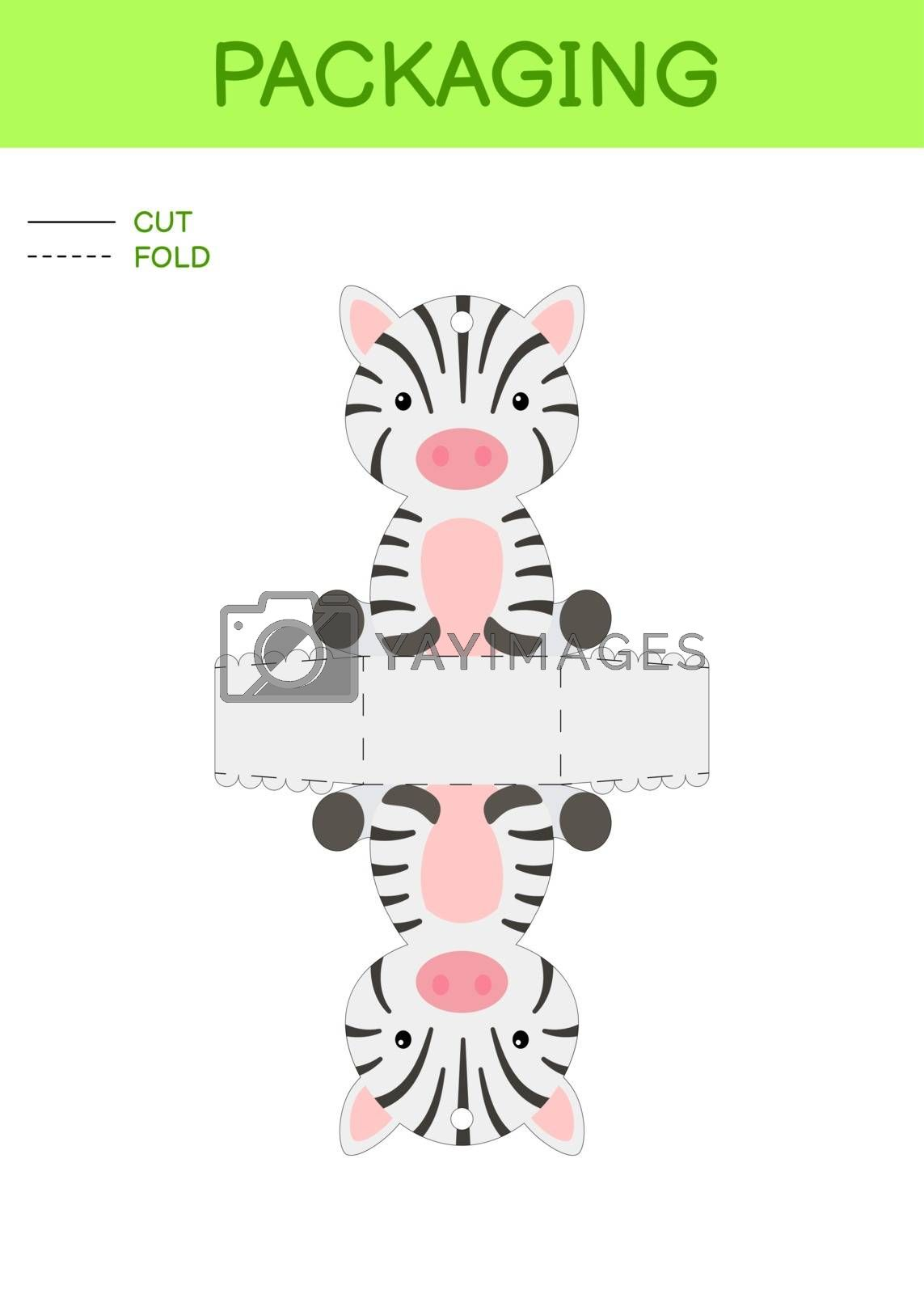 DIY party favor box die cut template design for birthdays, baby showers with cute zebra for sweets, candies, small presents. Printable color scheme. Print, cut out, fold, glue. Vector illustration
