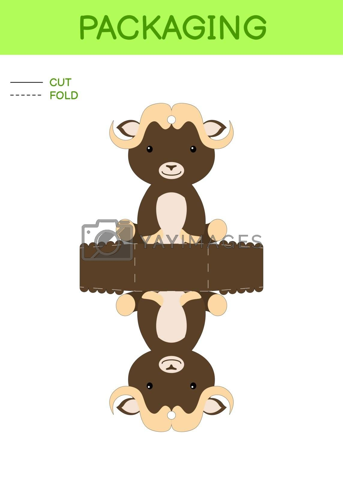 DIY party favor box die cut template design for birthdays, baby showers with cute musk-ox for sweets, candies, small presents. Printable color scheme. Print, cut out, fold, glue. Vector illustration