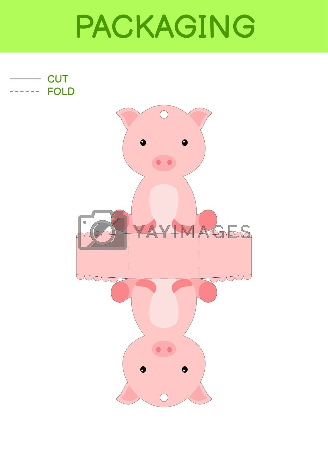 DIY party favor box die cut template design for birthdays, baby showers with cute pig for sweets, candies, small presents. Printable color scheme. Print, cut out, fold, glue. Vector stock illustration