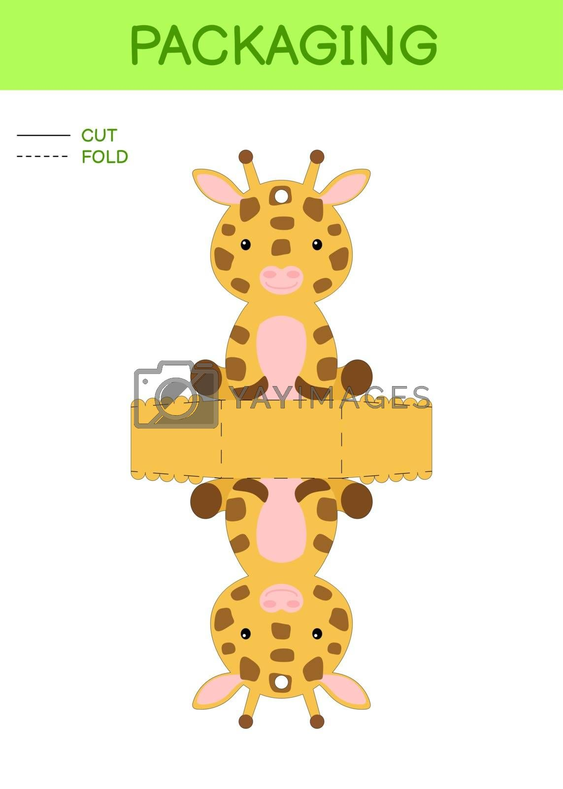 DIY party favor box die cut template design for birthdays, baby showers with cute giraffe for sweets, candies, small presents. Printable color scheme. Print, cut out, fold, glue. Vector illustration