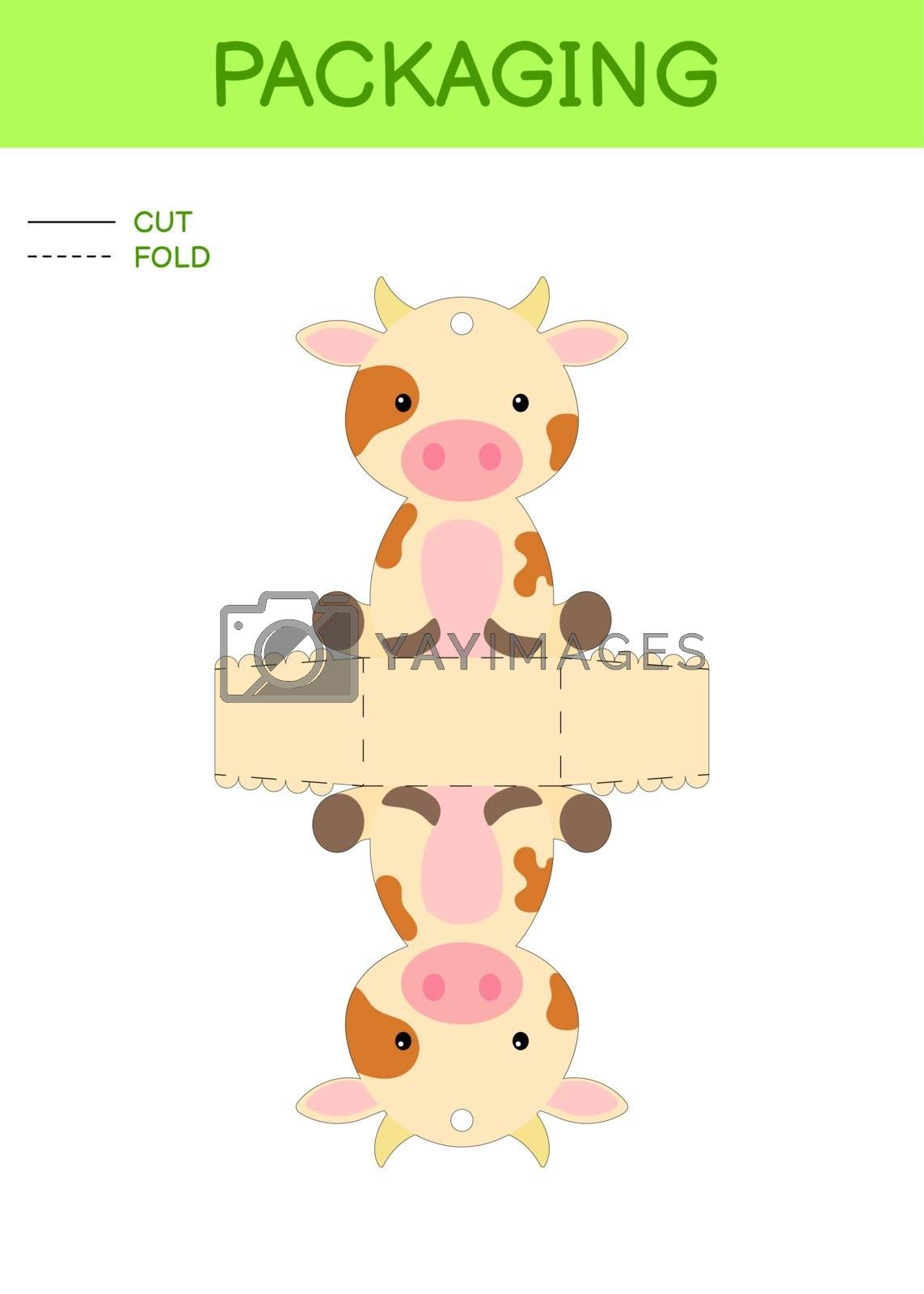 DIY party favor box die cut template design for birthdays, baby showers with cute cow for sweets, candies, small presents. Printable color scheme. Print, cut out, fold, glue. Vector stock illustration